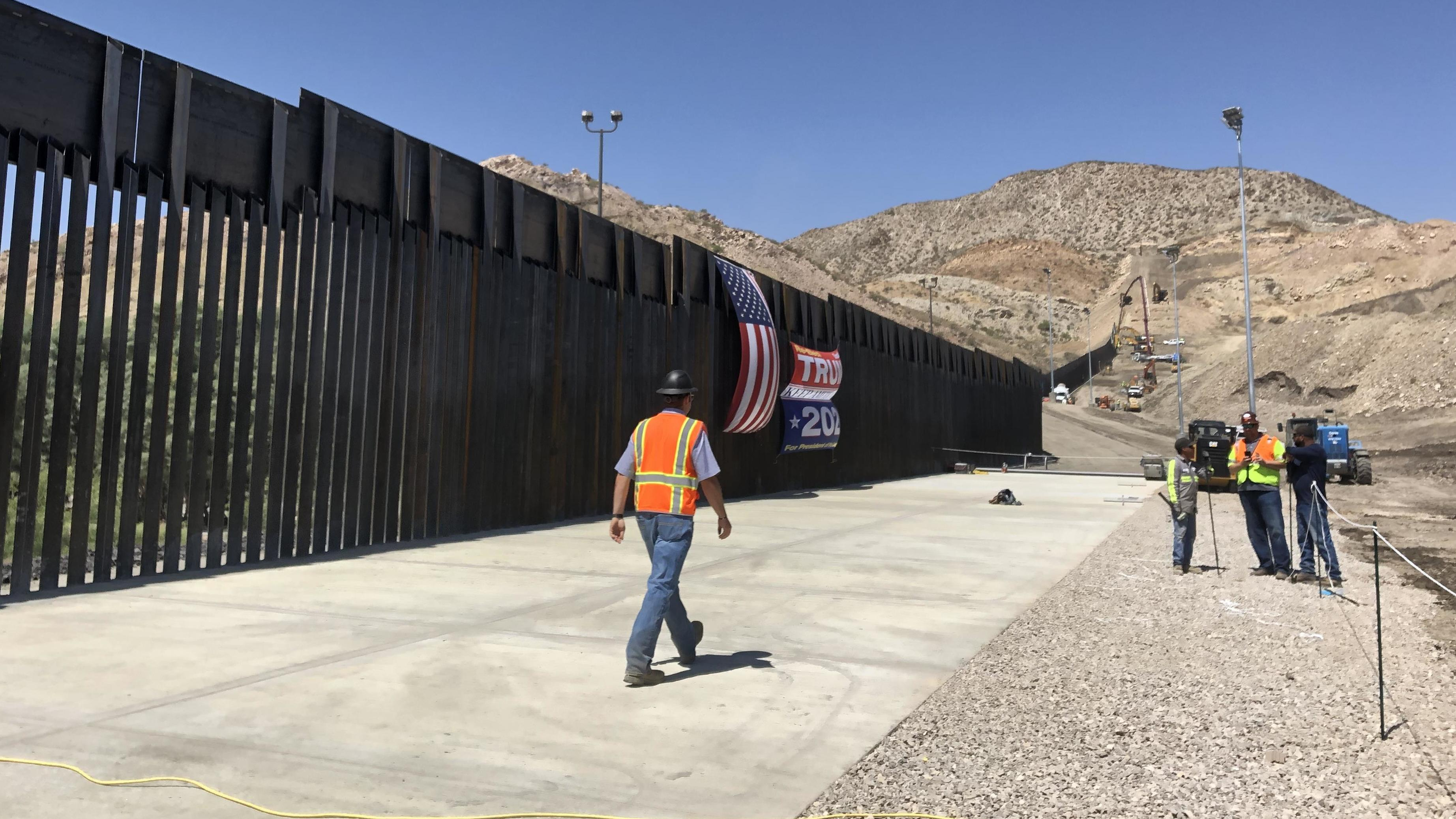 Construction is nearly complete in New Mexico on a section of border wall built with private funds, raised by a non-profit called We Build The Wall.