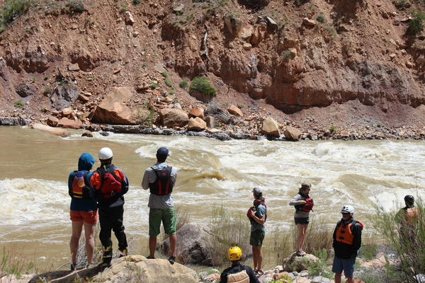 Rafters scout a rapid along the Yampa River in Dinosaur National Monument in May 2019.