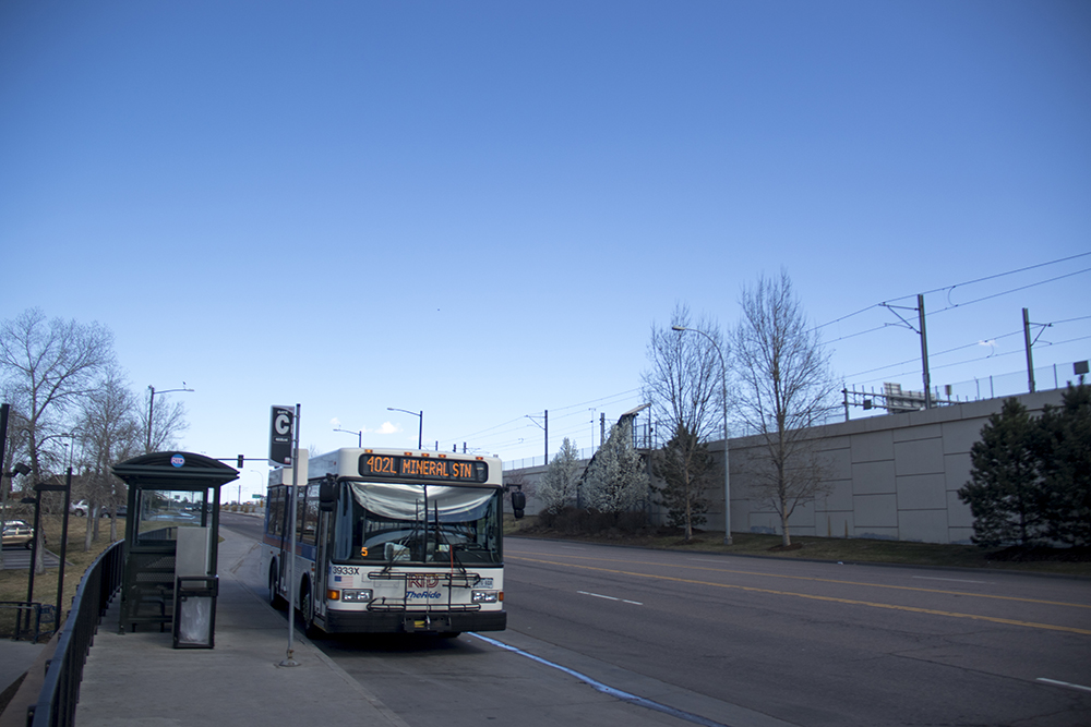 An RTD Bus at the County Line Road light rail station in Centennial.