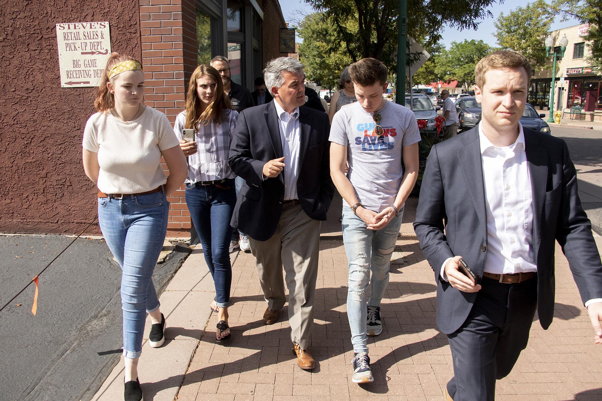 Sen. Cory Gardner visits Arvada, Aug. 13, 2019. (Kevin J. Beaty/Denverite)