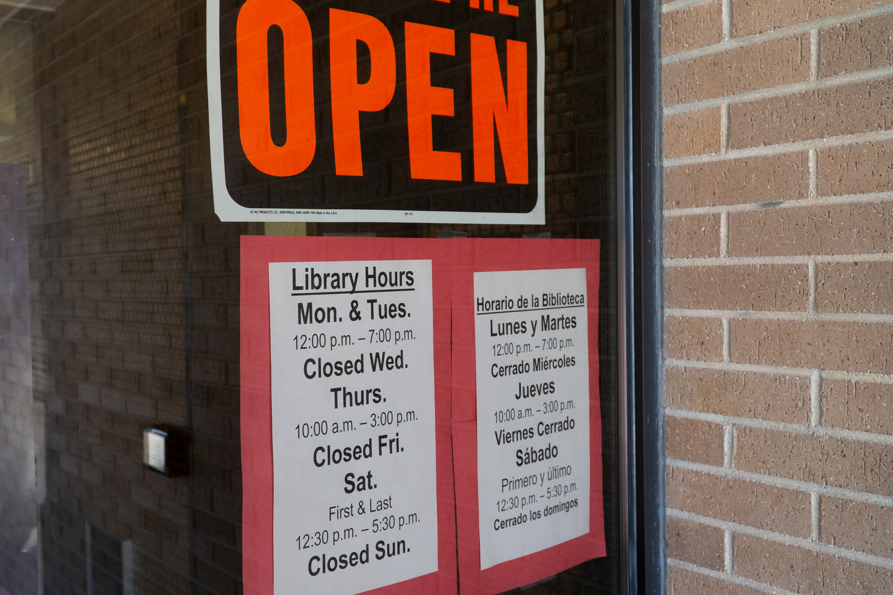 Hours posted outside of the Craig library branch on Aug. 13, 2019. Moffat County Libraries interim director Keisha Bickford said they had to cut hours by more than half after funding cuts.