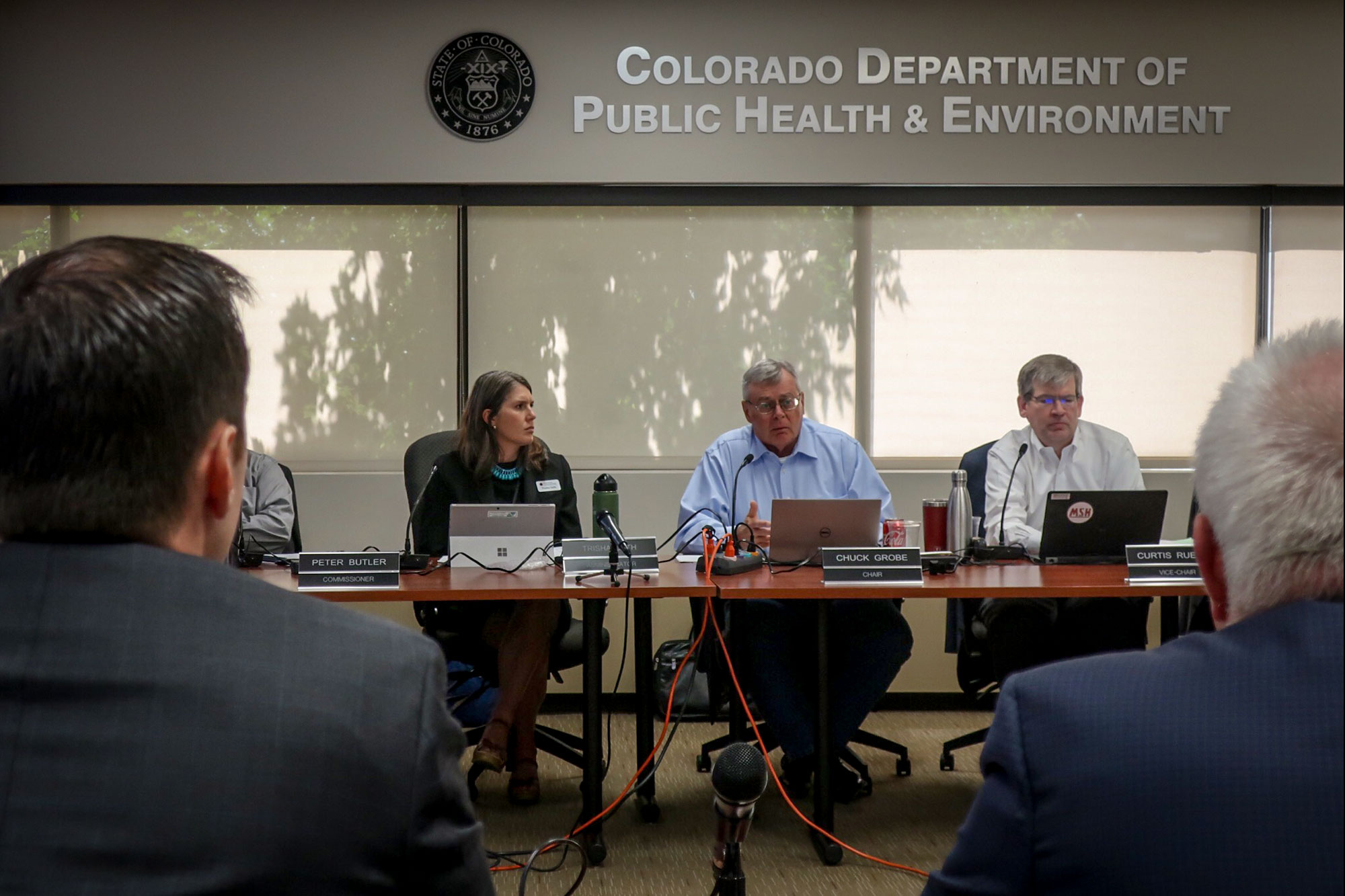 The Colorado Air Quality Control Commission listens to testimony from stakeholders before voting to approve the Zero-Emission Vehicle program, Aug. 15, 2019.