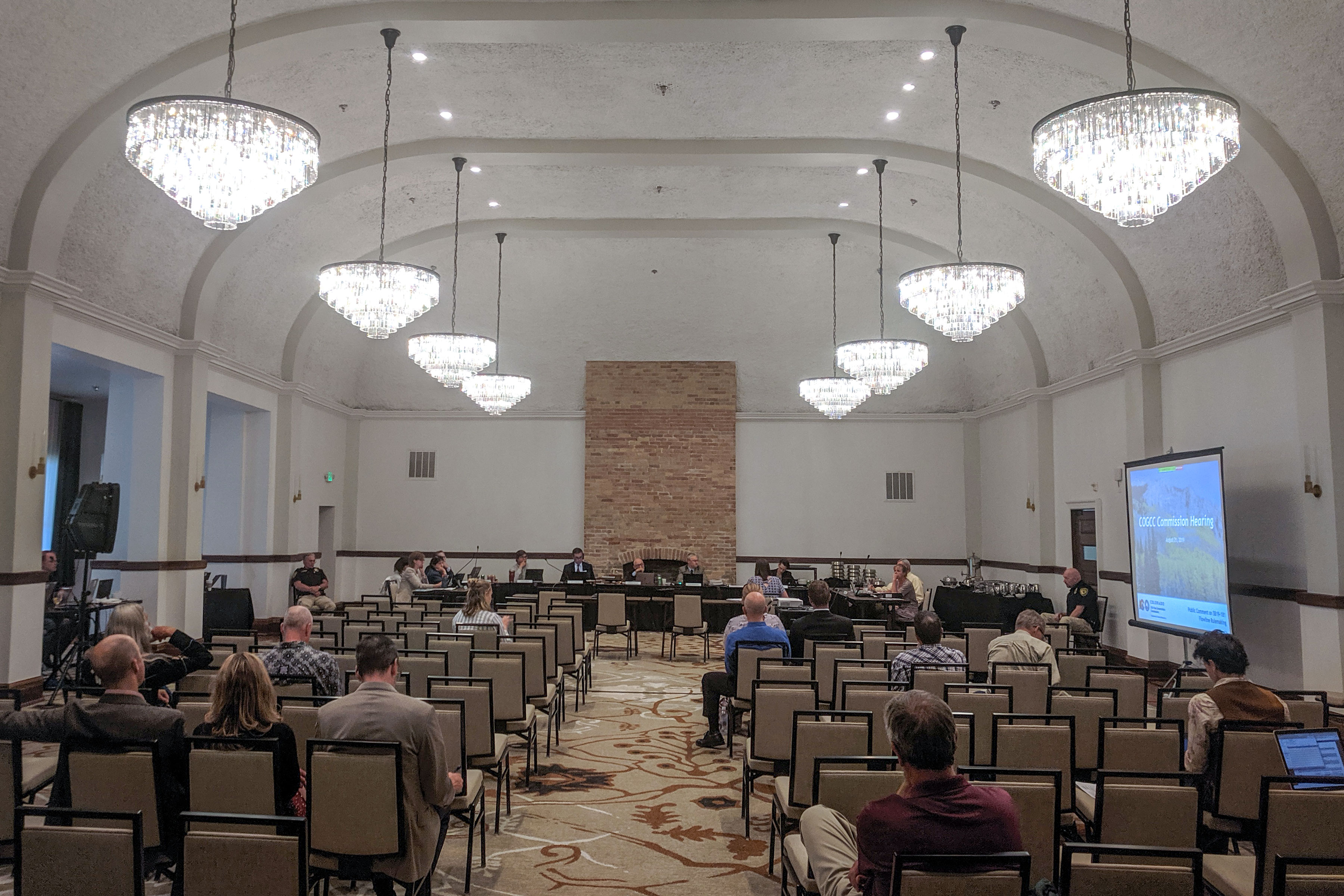 Colorado Oil and Gas Conservation Commission holds a meeting in Glenwood Springs, Colo., Aug. 21, 2019.