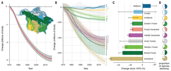 """This graphic from the """"Decline of the North American avifauna"""" report published in Science shows that grasslands, boreal forests, and Western forests have lost the most birds over the last 50 years."""