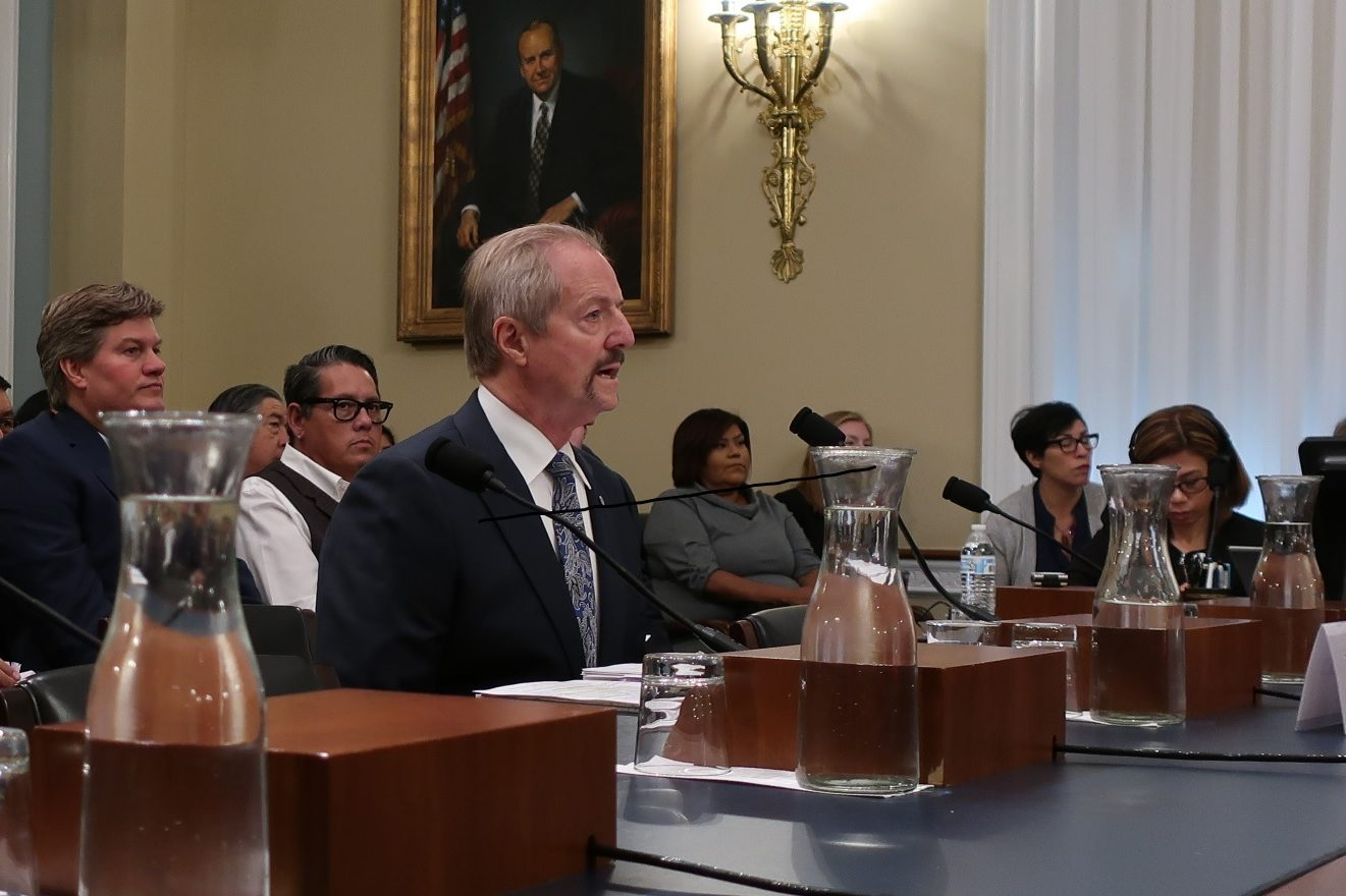 Acting BLM Director William Perry Pendley testifies in front of the House Natural Resources committee about the proposed BLM reorganization.
