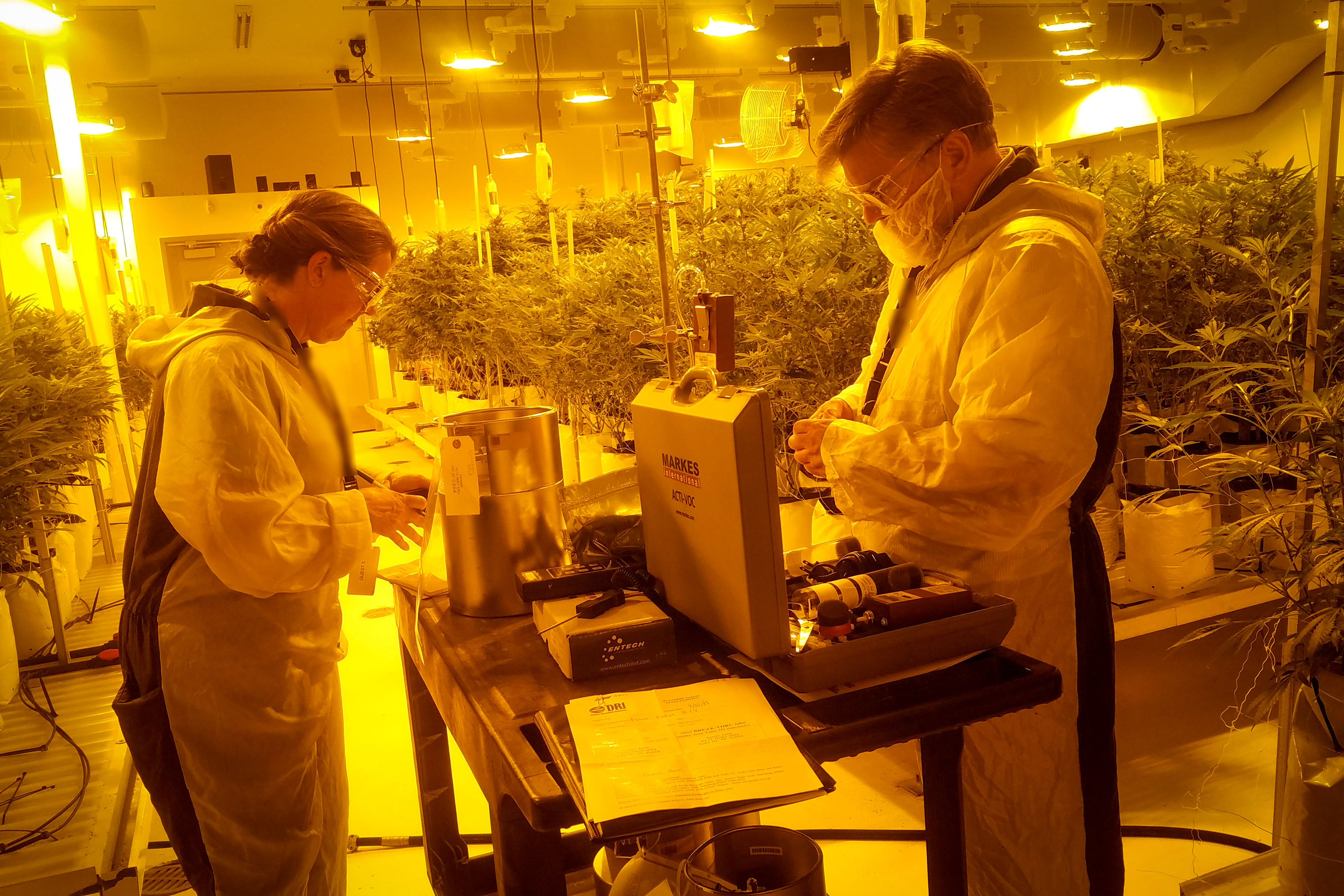 Colorado Department of Public Health and Environment researchers Alicia Frazier, Kaitlin Urso and Daniel Bon, collecting air samples from a drying room in a marijuana grow house.