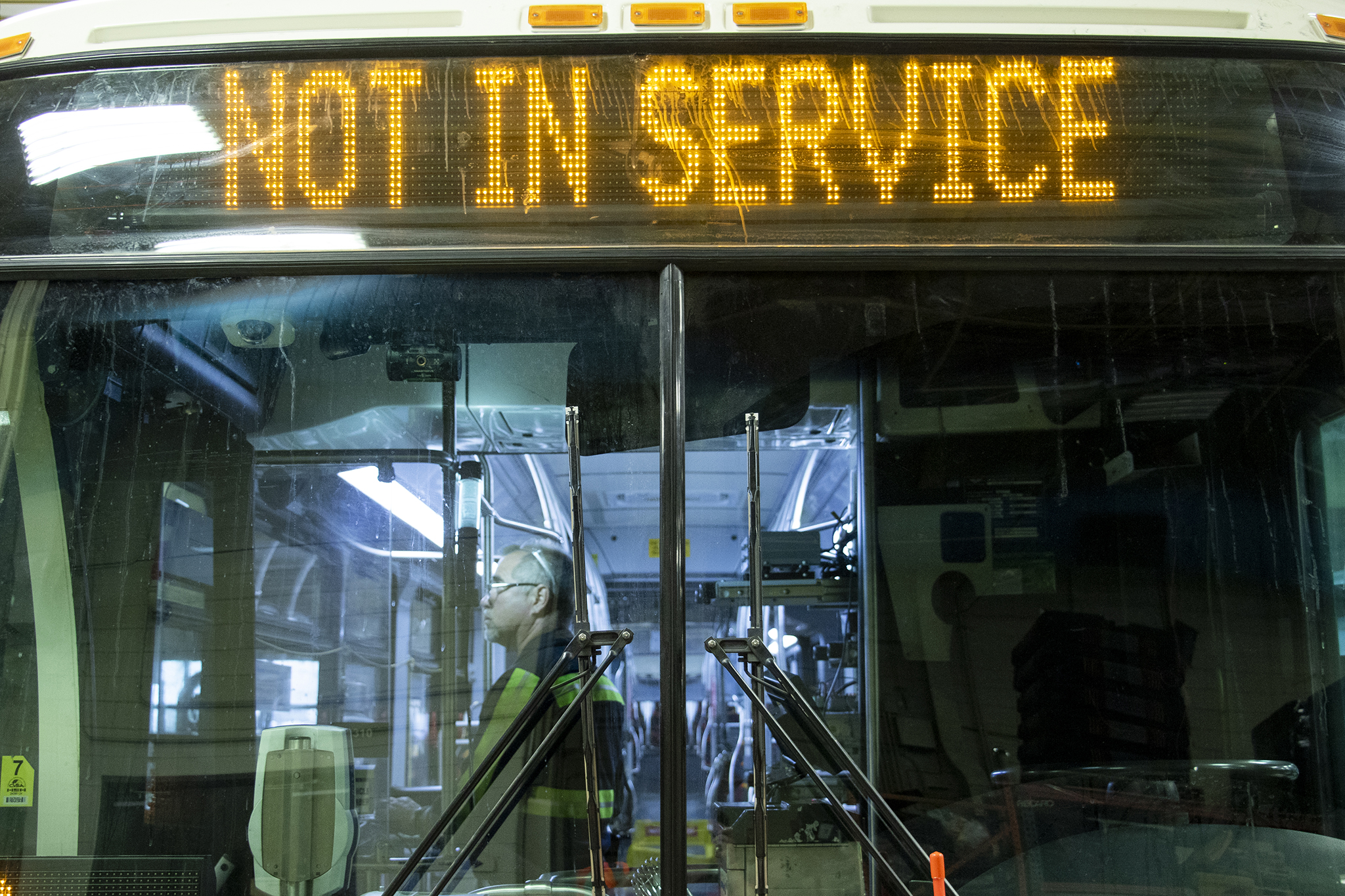 """This vehicle is """"NOT IN SERVICE"""" at RTD's main bus repair depot, June 25, 2019."""
