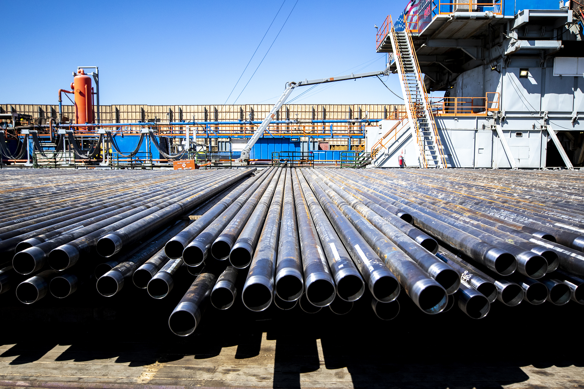 A pipes that a drill rig will send deep into the Earth on an Extraction Oil and Gas fracking pad in Broomfield, Sept. 13, 2019.