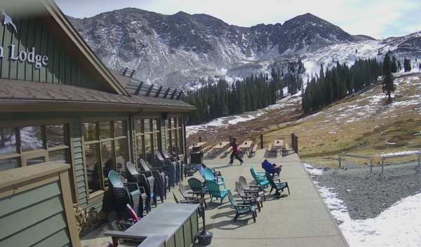 Arapahoe Basin's mid-mountain Black Mountain Lodge webcam captures snow conditions on Wednesday afternoon.