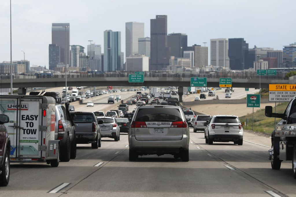 denver downtown, backed up interstate 25 traffic, r m
