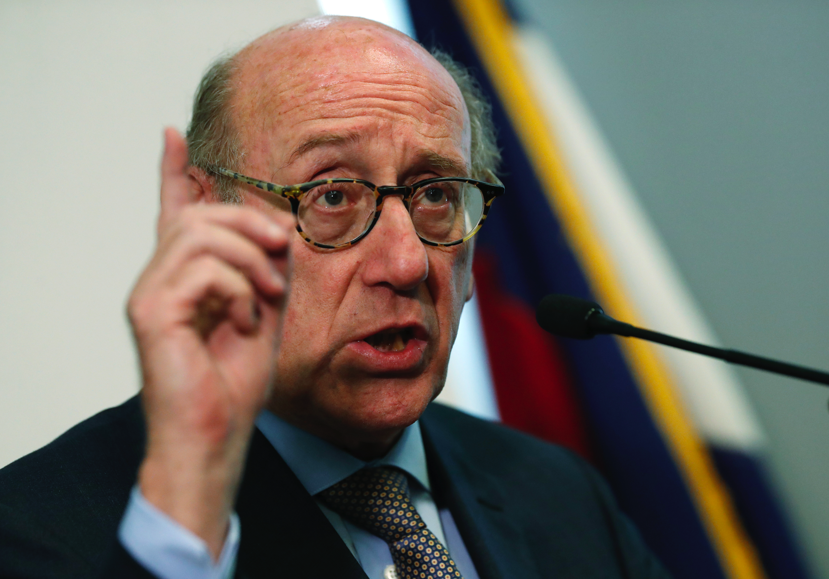 Kenneth Feinberg, who is leading a program to compensate people who were abused by Catholic priests in Colorado, speaks during a news conference to announce that the program is now open for the submission of claims Monday, Oct. 7, 2019, in Denver. Administrators said that they were sending out packets to 65 people who previously reported abuse to the church to ask if they would like to submit a claim against the three archdioceses--Denver, Colorado Springs and Pueblo.
