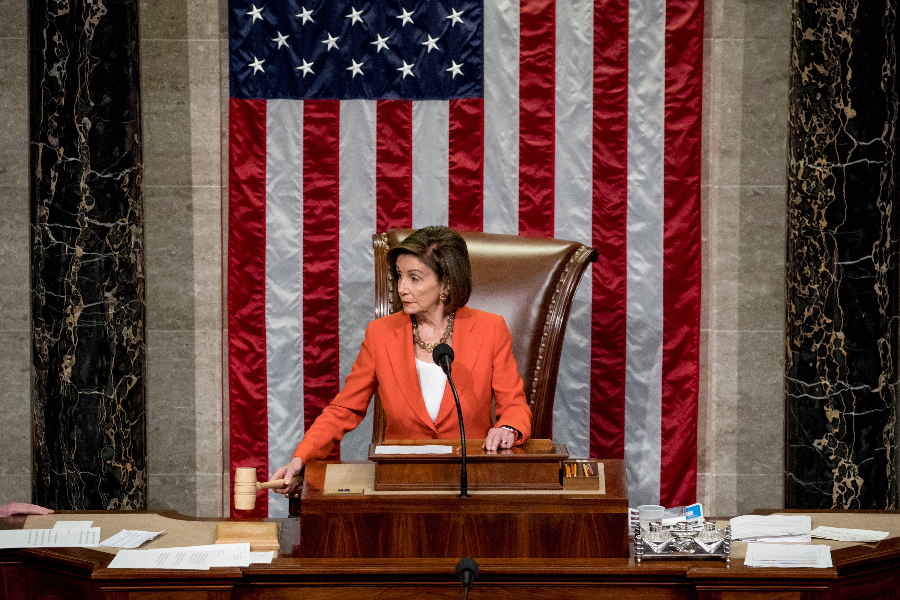 House Speaker Nancy Pelosi of Calif. gavels as the House votes 232-196 to pass resolution on impeachment procedure to move forward into the next phase of the impeachment inquiry into President Trump in the House Chamber on Capitol Hill in Washington, Thursday, Oct. 31, 2019.