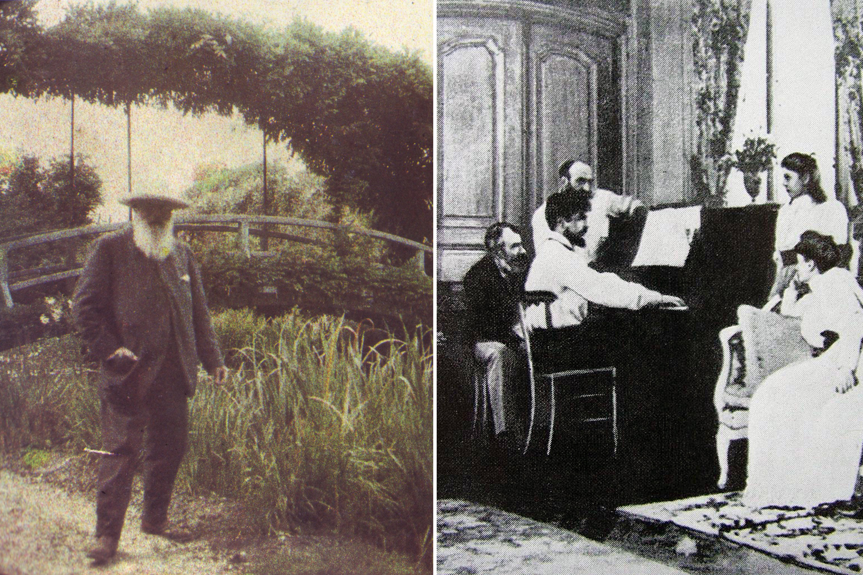 Painter Claude Monet in Giverny (left), and  composer Claude Debussy at the piano (right).