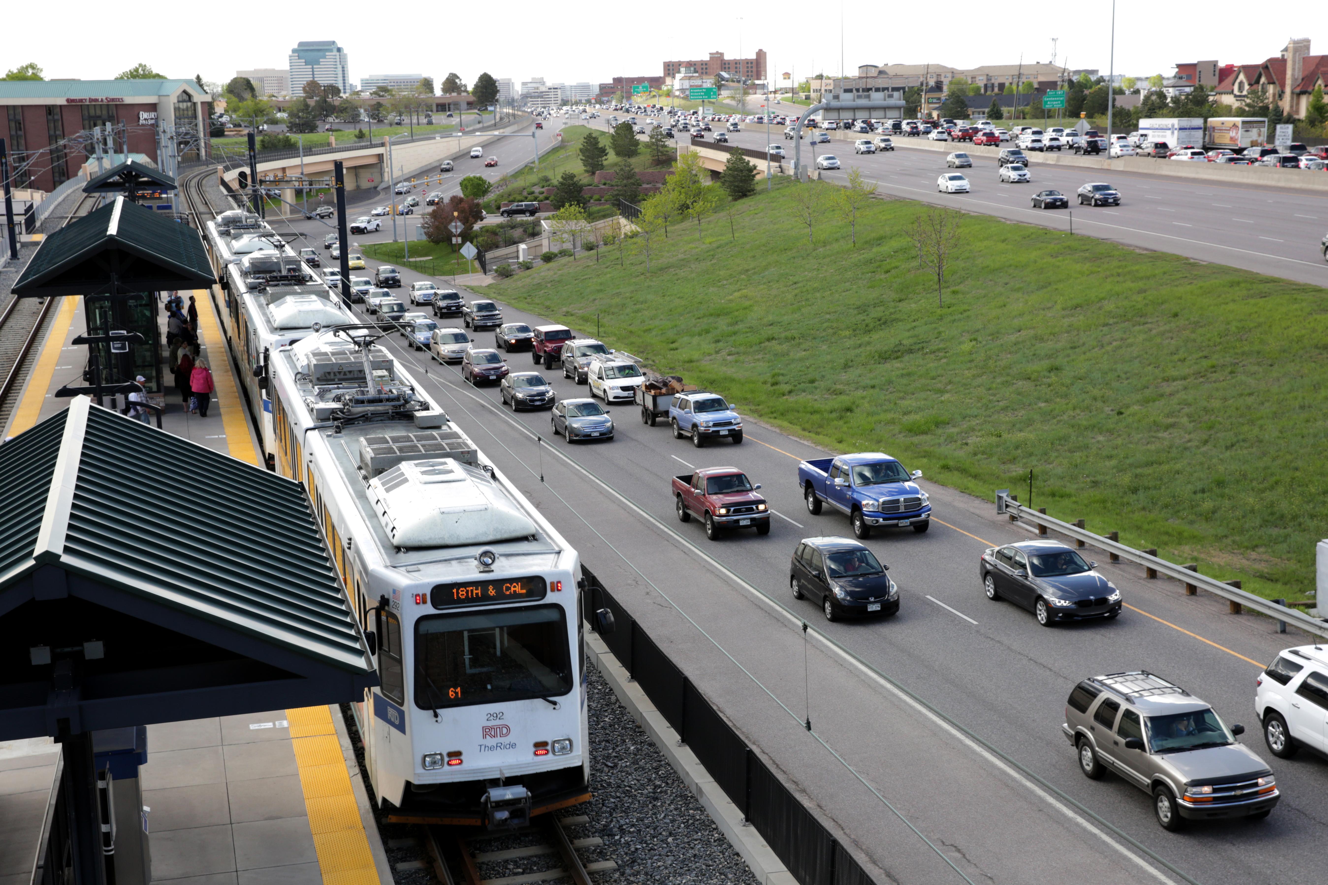 RTD's Dry Creek light rail station is adjacent to Interstate 25 south of Denver.