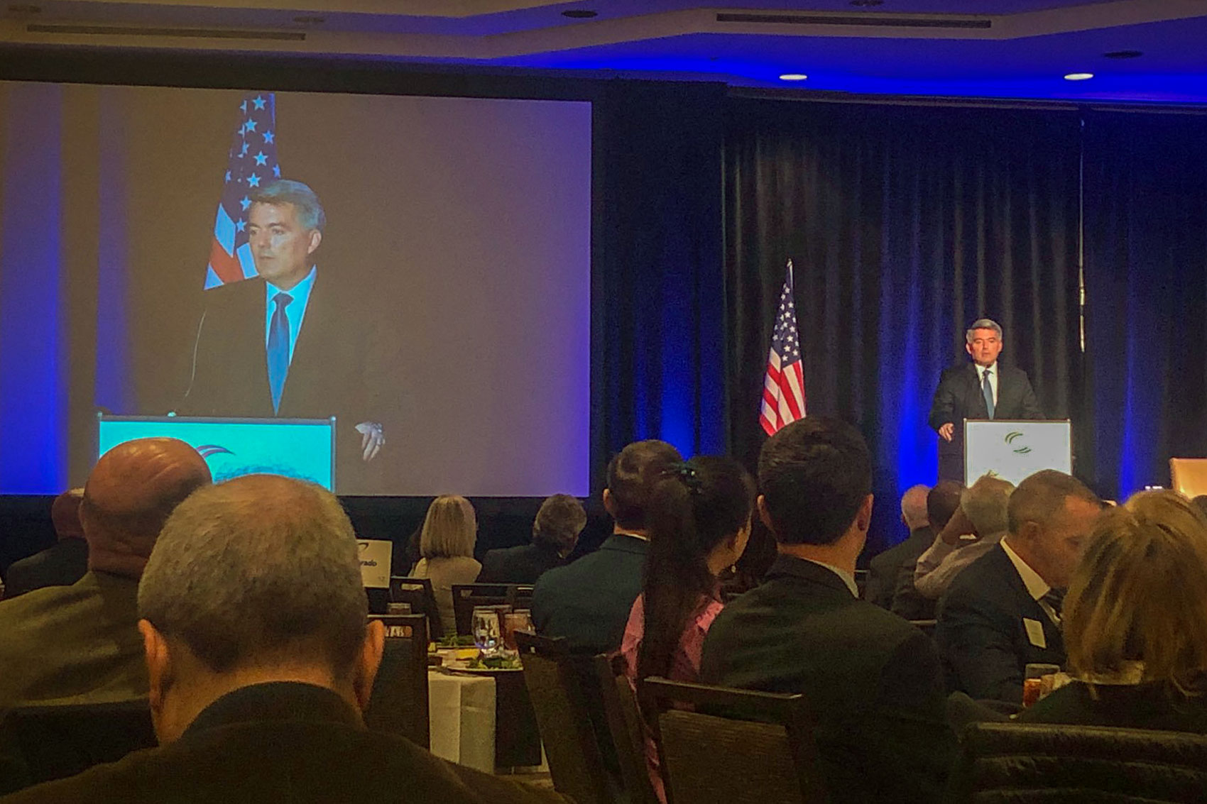 Republican Sen. Cory Gardner speaks at a Colorado Chamber of Commerce event at the Westin Hotel in downtown Denver, Oct. 10, 2019.