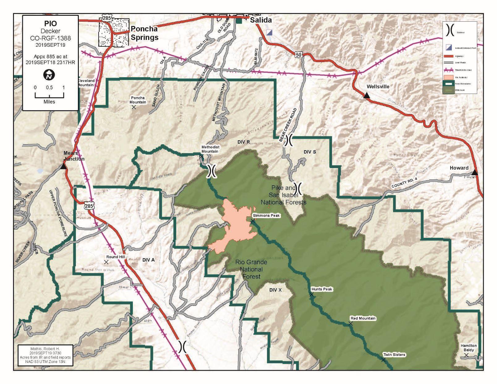 A map of the Decker Fire dated September 19, 2019.