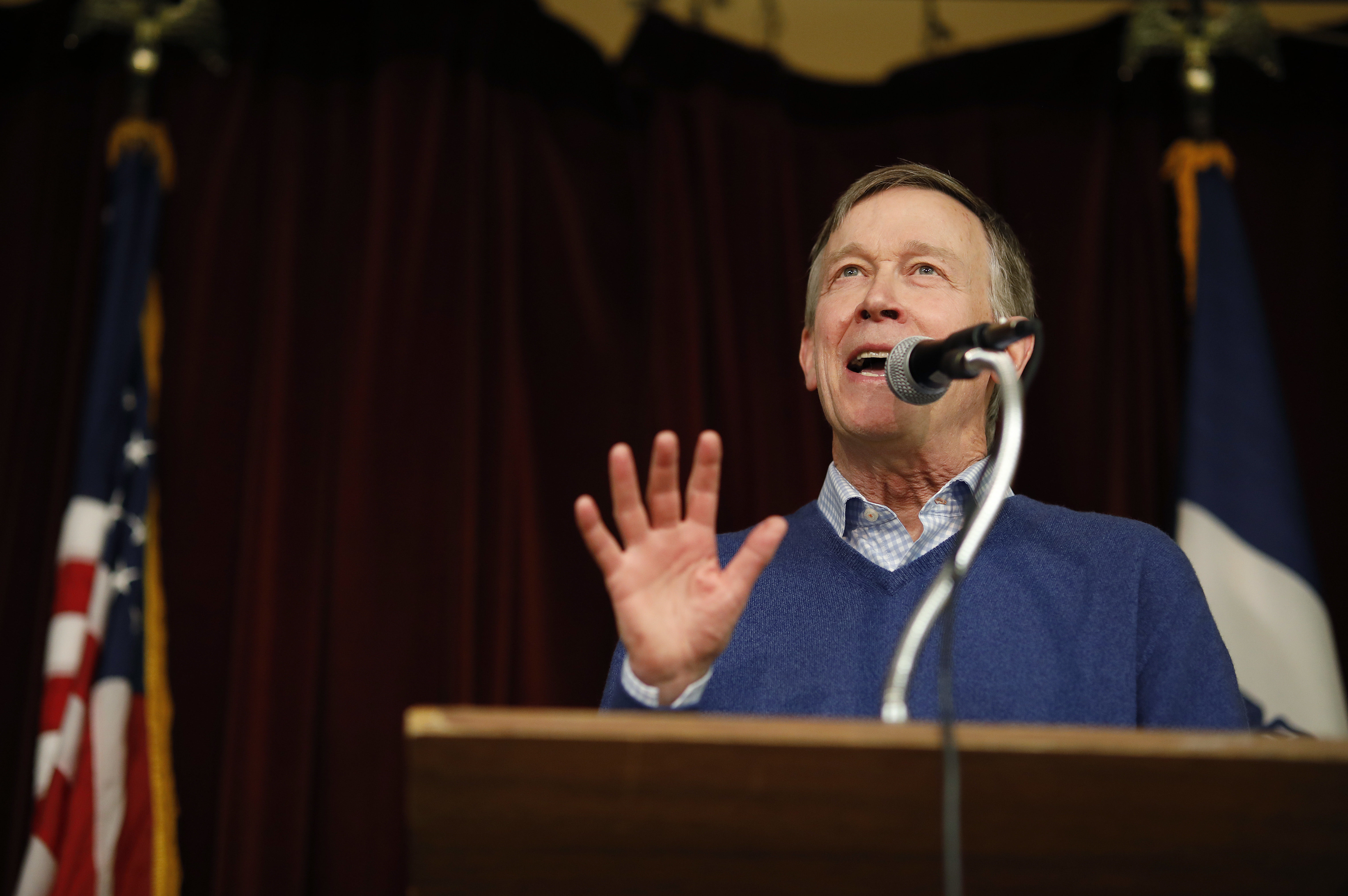 Former Colorado Gov. John Hickenlooper speaks at the Story County Democrats Soup Supper, Feb. 23, 2019, in Ames, Iowa.