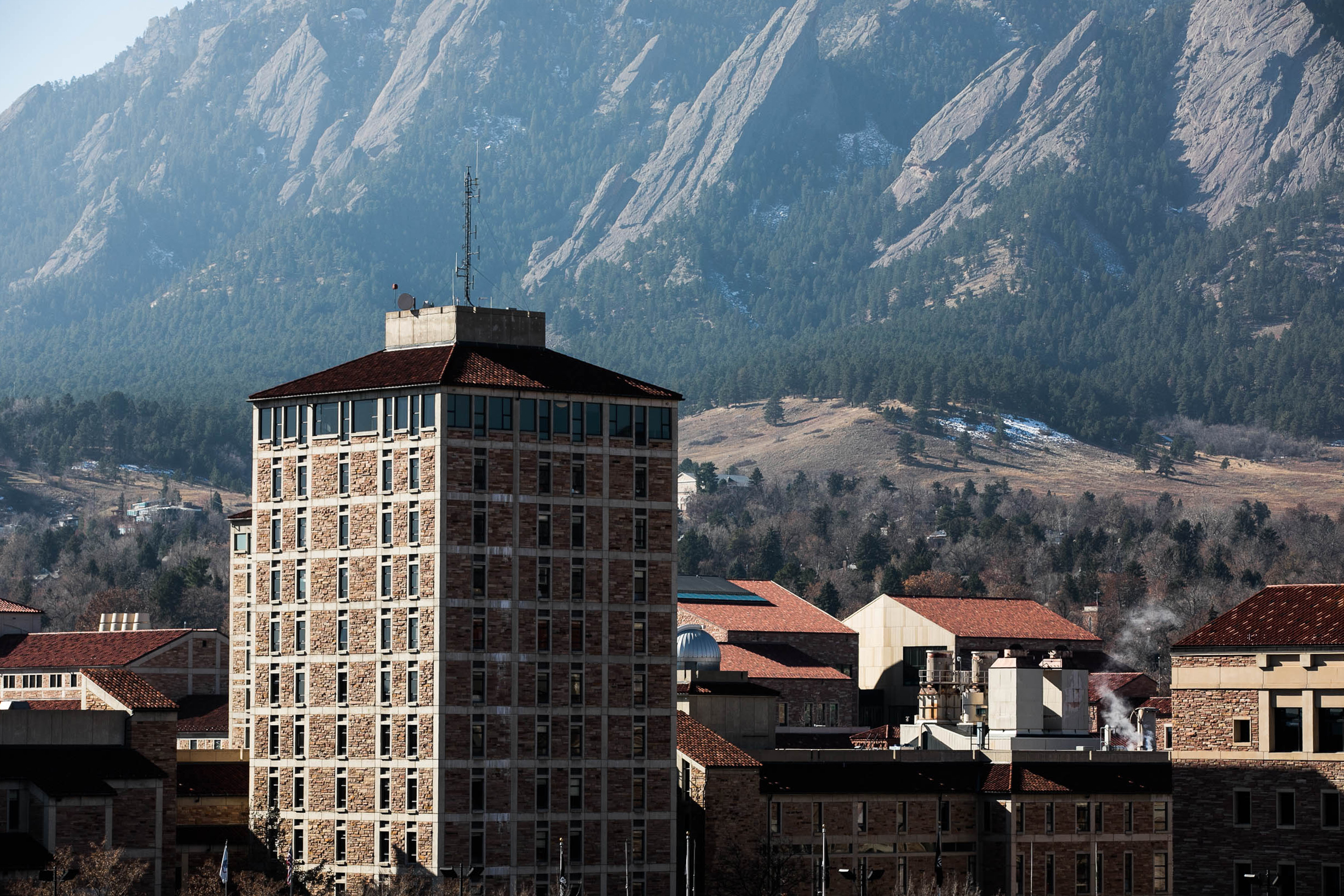 The CU Boulder campus, with the Flatirons in the background