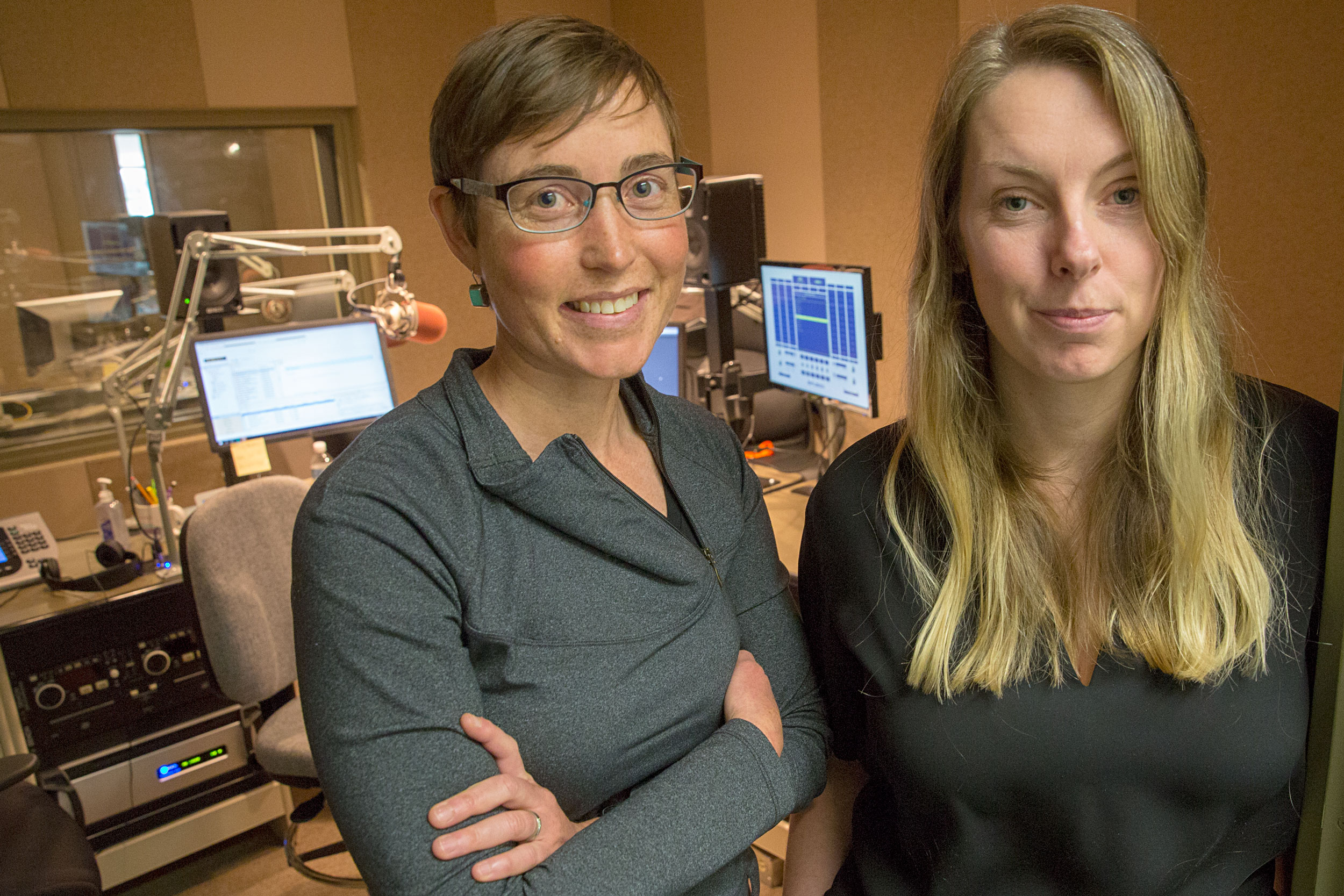 Twila Moon, at left, and Maria Caffrey at the CPR News studios Friday Nov. 15 2019. The two are climate scientists who discussed the line between activism and science.