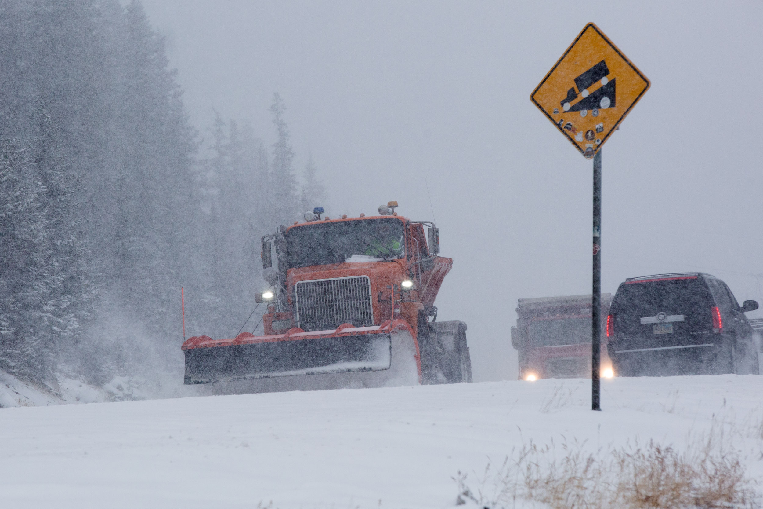 A CDOT snowplow makes its way over Hoosier Pass on Hwy. 9 south of Breckenridge Nov. 20 2019.