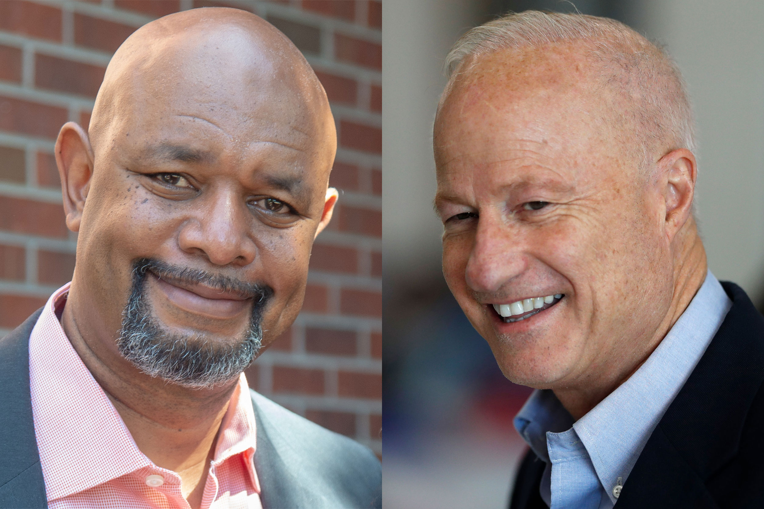 Aurora mayoral candidates Omar Montgomery (left) and Mike Coffman.