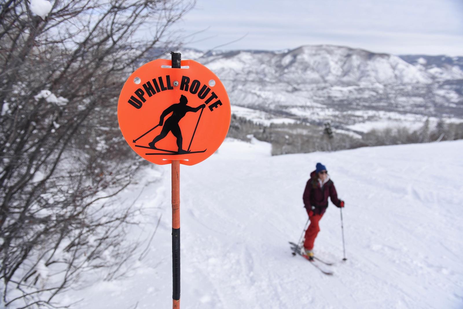 Skinning up a designated trail at Buttermilk Ski Resort in Colorado