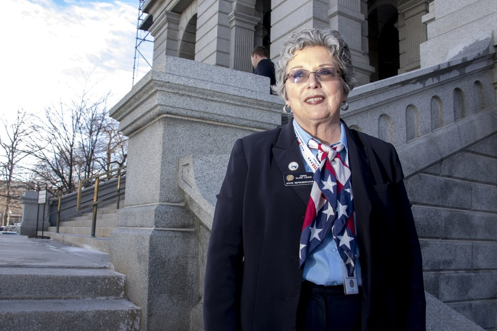 House District 64 Representative Kimmi Clark Lewis poses for a portrait on the Capitol steps, Jan. 16, 2019.