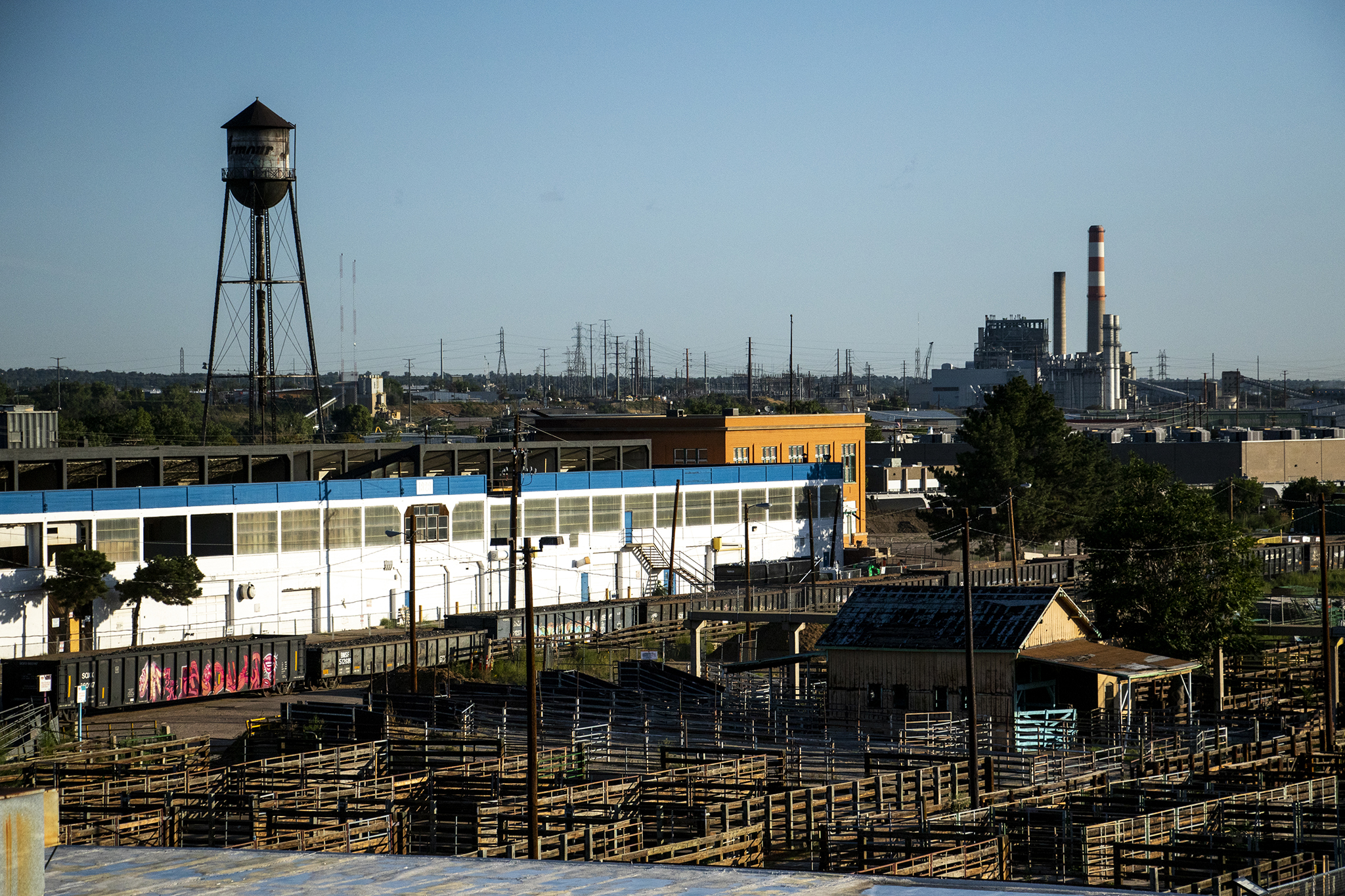 The National Western complex and Xcel Energy's Cherokee Generating Station seen from the historic Denver Union Stock Yard Exchange Building, Sept. 12, 2019.