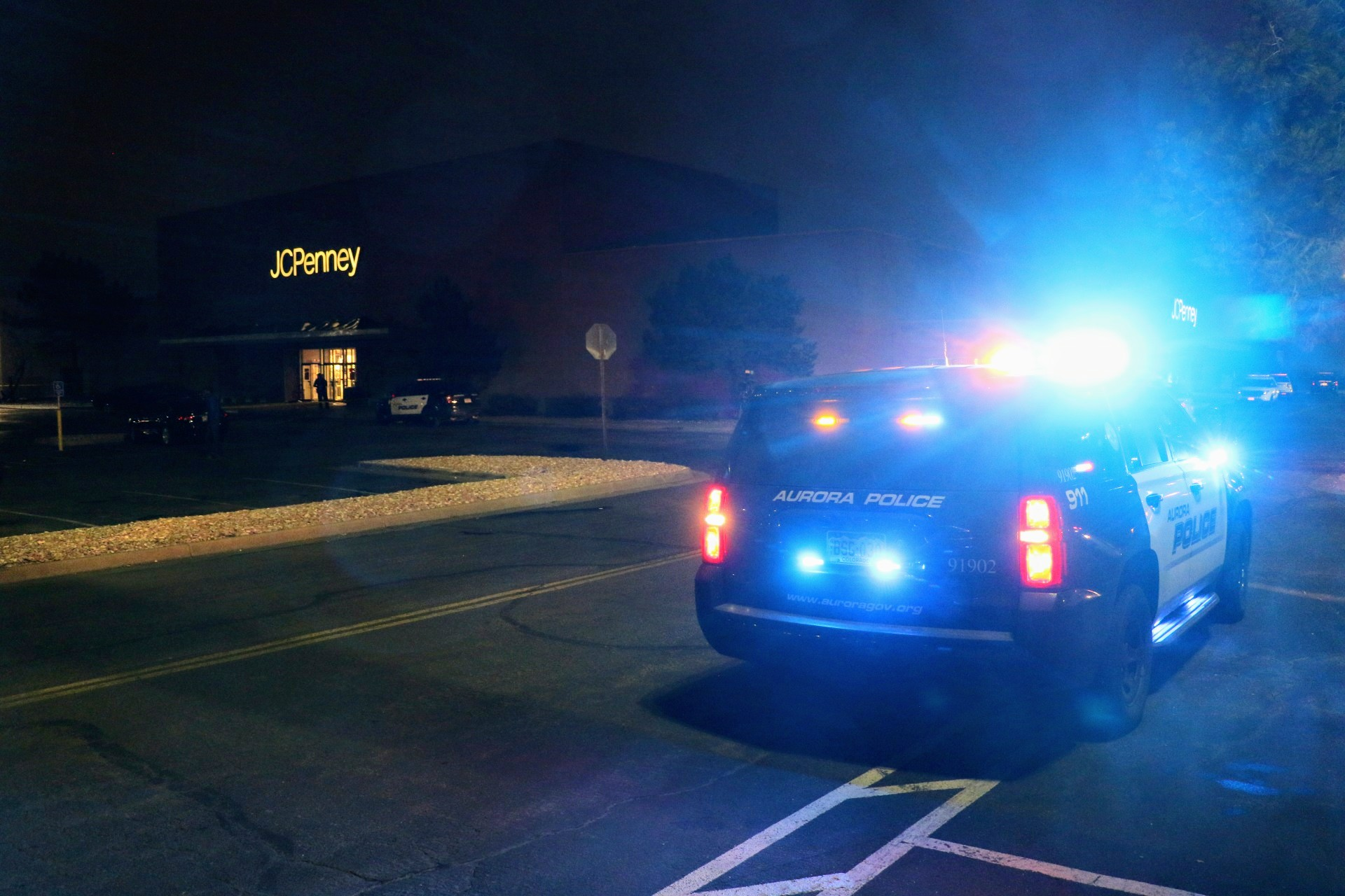 An Aurora police cruiser outside the Town Center at Aurora mall after a shooting on Friday, Dec. 27, in Aurora.