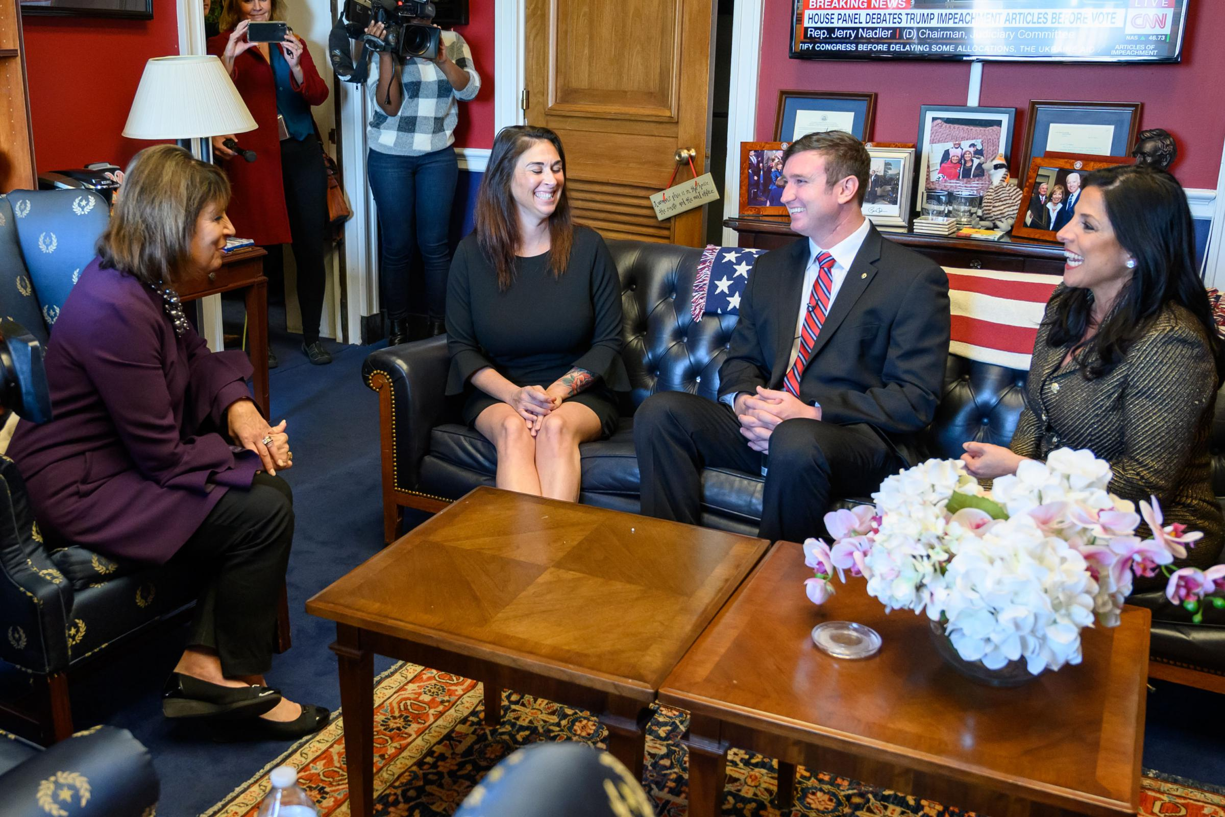 Congresswoman Jackie Speier, left, meets with Army Sergeant Richard Stayskal, center, his wife, Megan, and his attorney, Natalie Khawam, in Speier's Washington office before an April 2019 subcommittee hearing on the Feres Doctrine.