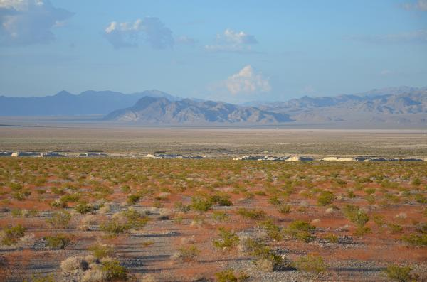 A look at installations within the Nevada Test and Training Range, as seen from U.S. Highway 95 in Nevada.