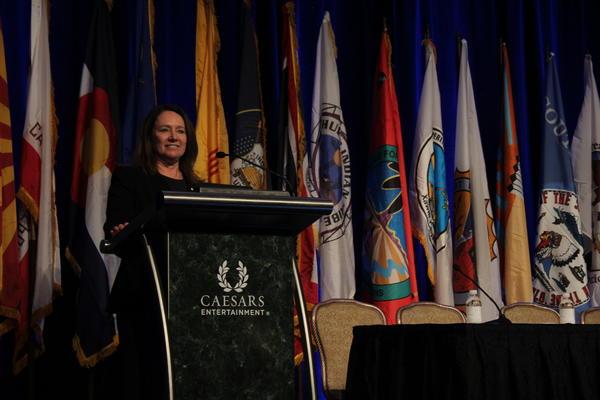 U.S. Bureau of Reclamation commissioner Brenda Burman speaks at the Colorado River Water Users Association conference in Las Vegas.
