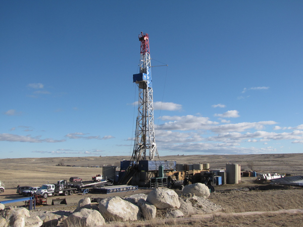 A drilling rig is operated on Bureau of Land Management lands in Wyoming.