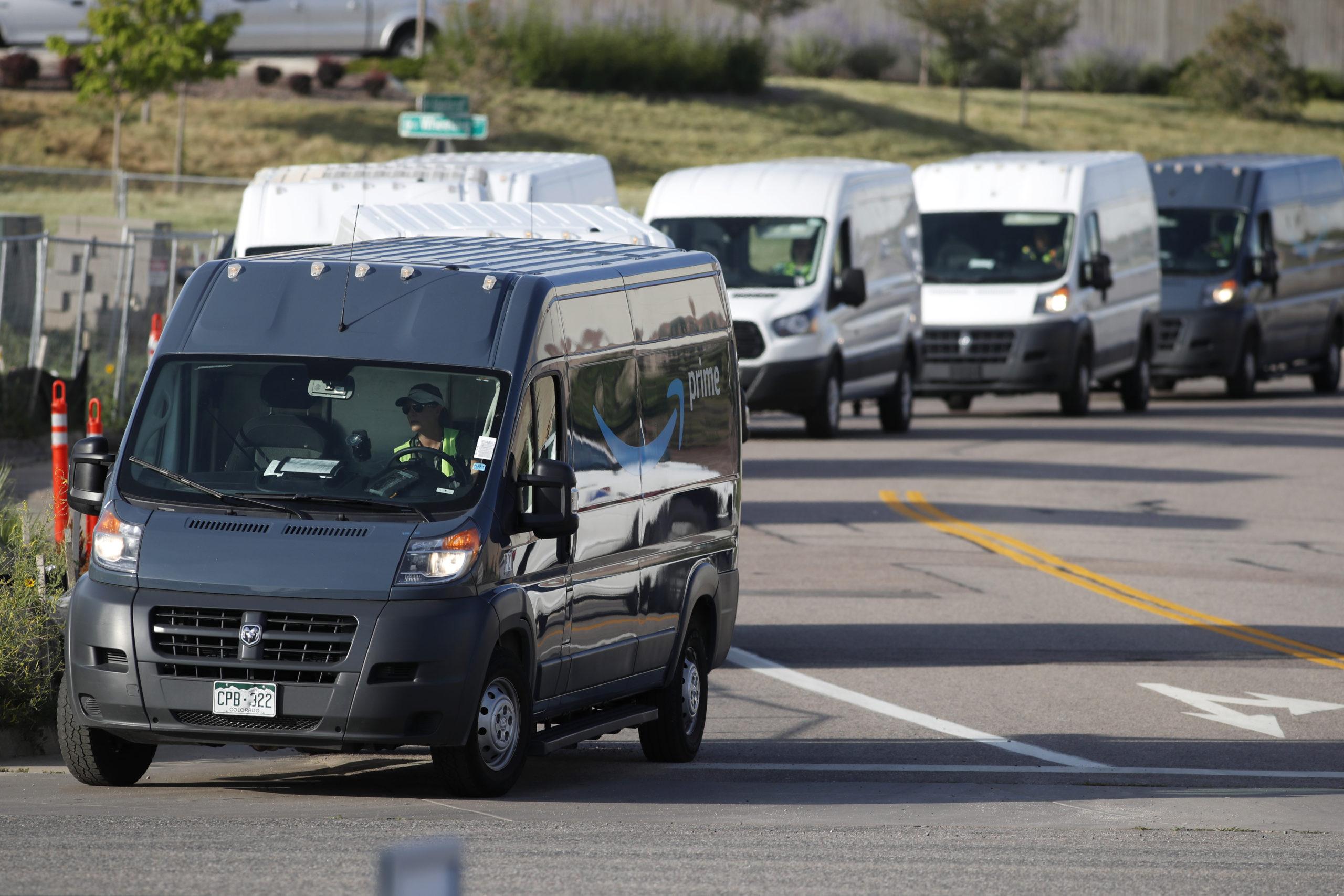 Amazon delivery vans, r m