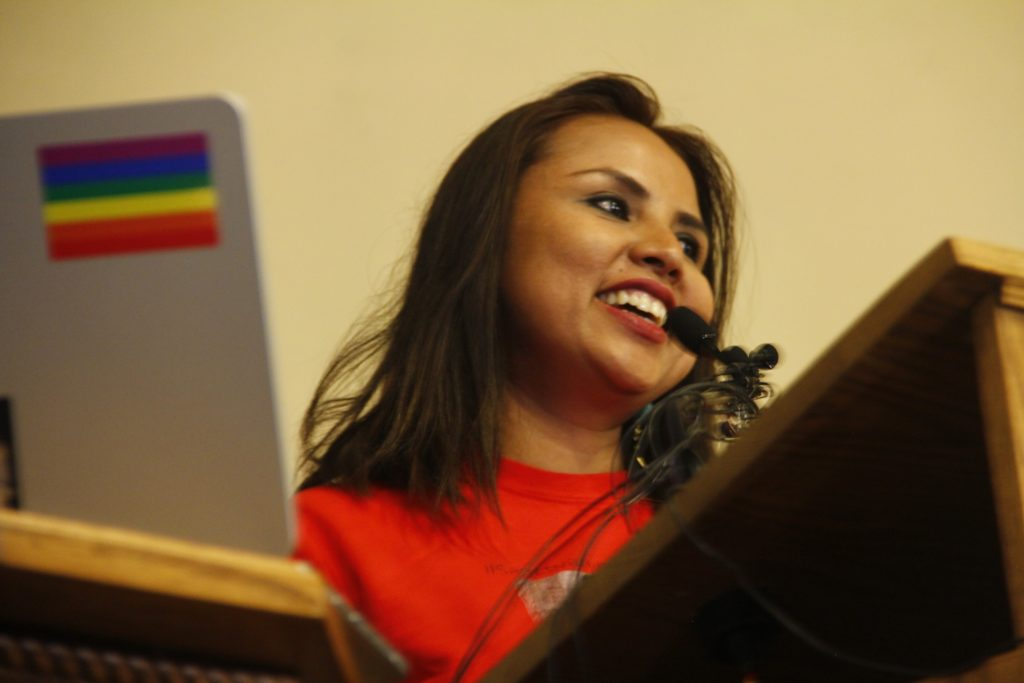 Ingrid Encalada Latorre looks on during a press conference on Monday, Dec. 23, at the Unitarian Universalist Church of Boulder.