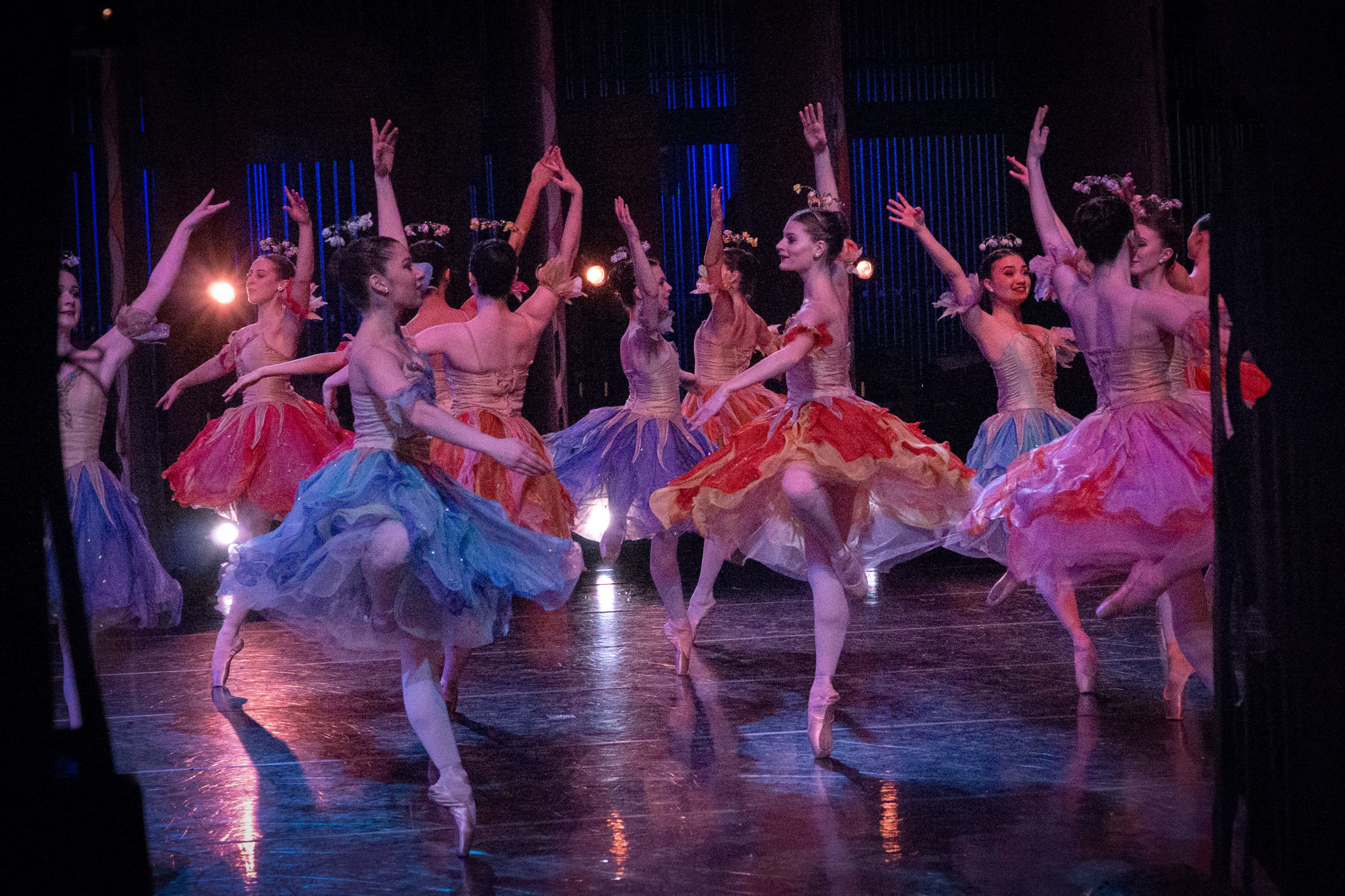 """Colorado Ballet artists dance """"Waltz of the Flowers"""" during a student matinee performance of """"The Nutcracker."""""""