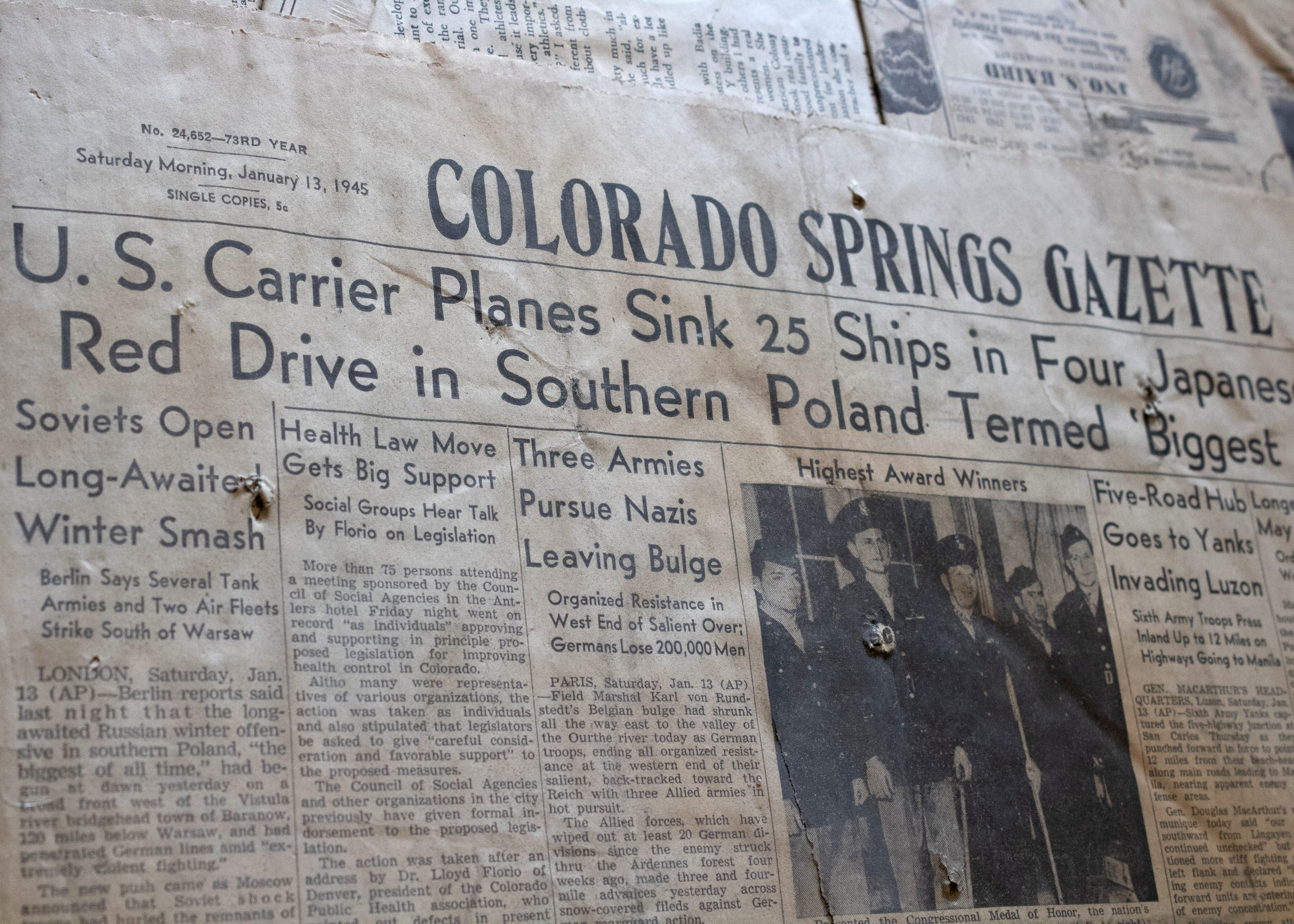 The front page of the Colorado Springs Gazette published January 13, 1945.