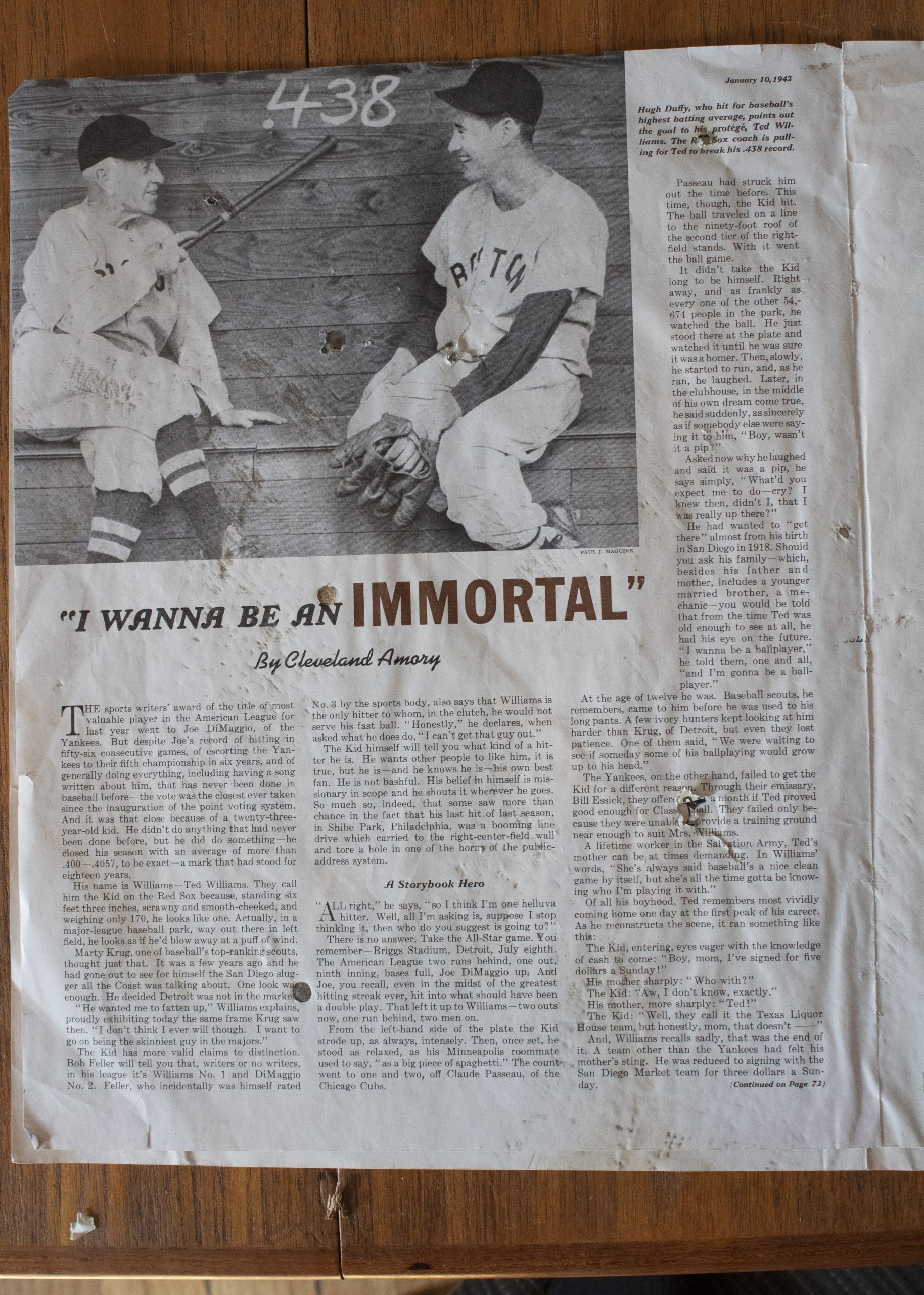 An article about Joe DiMaggio published in the Saturday Evening Post.