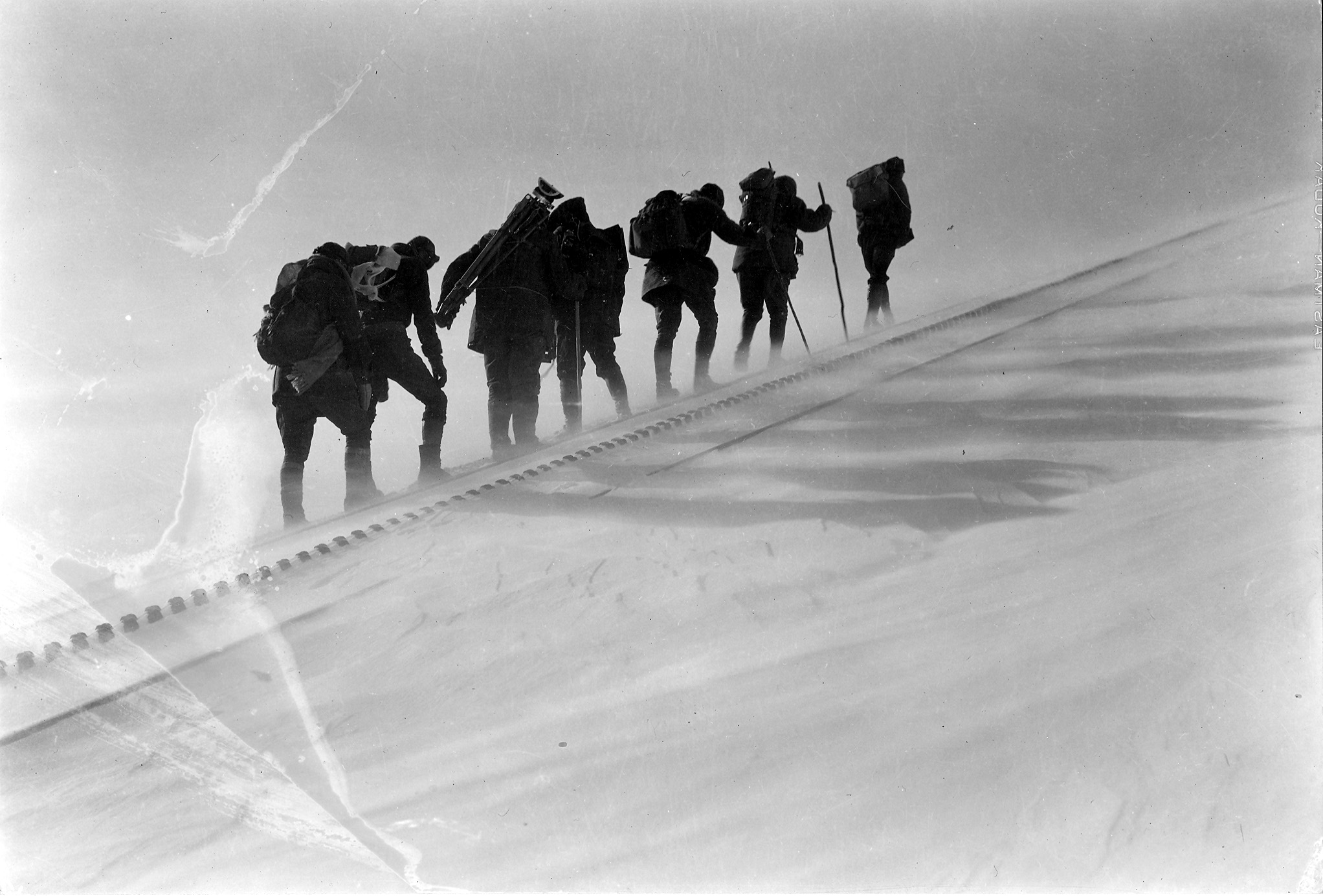 An archival photo shows the conditions the AdAmAn Club faces throughout their journey.