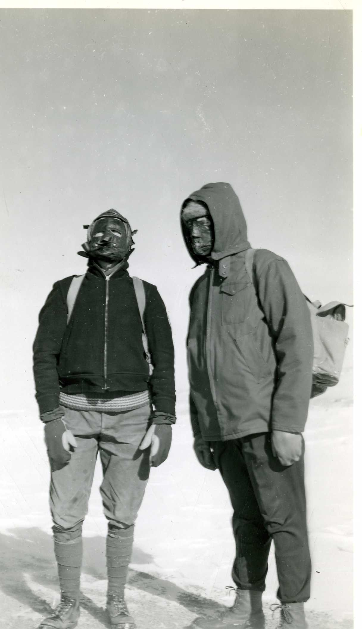 In contrast to the specialized gear club members use today, early AdAmAn members used more traditional means to stay warm including leather masks lined with wool, as shown in this photo.