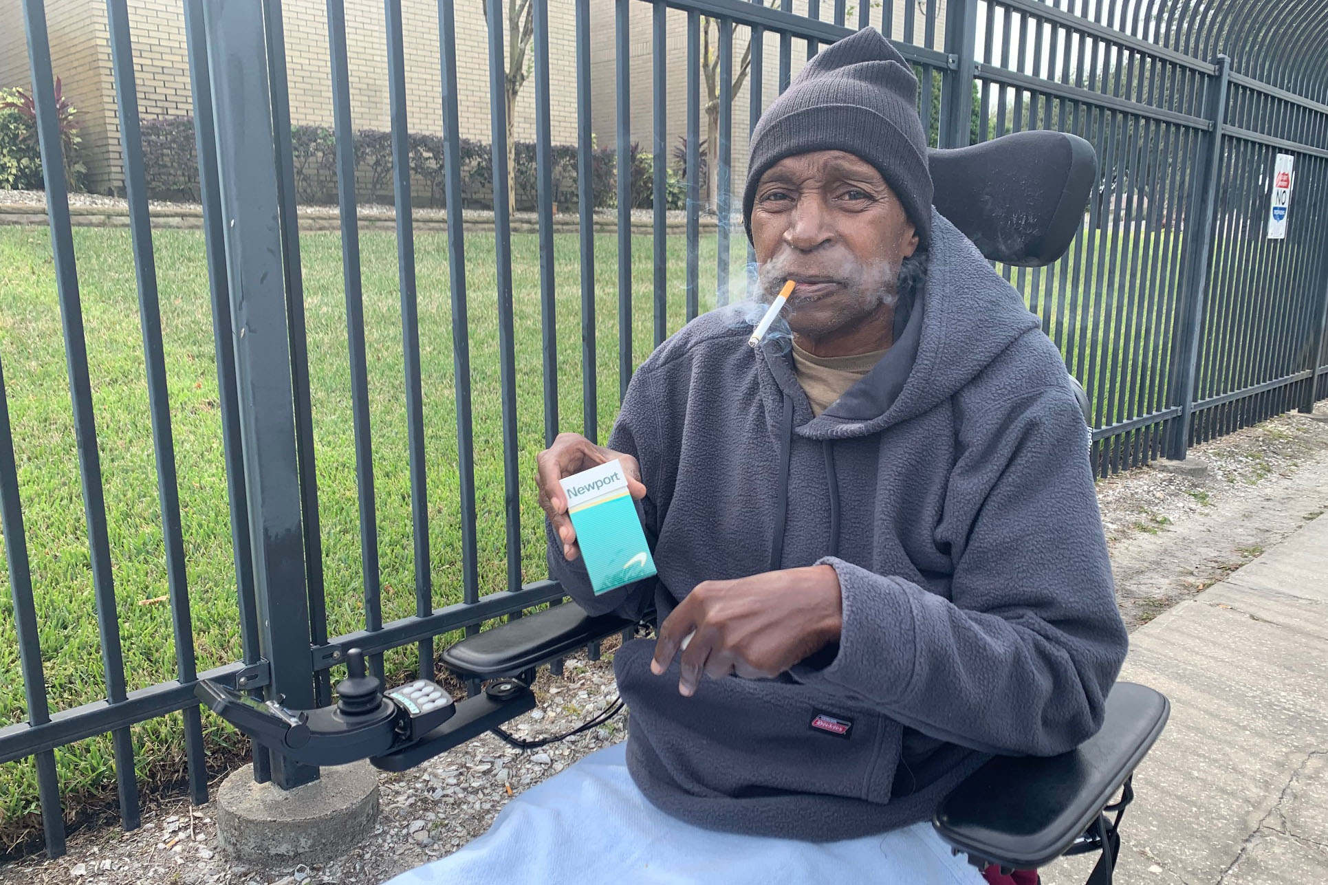 Air Force veteran Ronald West, 70, said he leaves his hospital room several times a day to smoke outside the Tampa VA property.