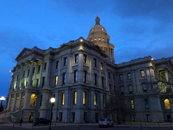 The Colorado state Capitol at dawn.