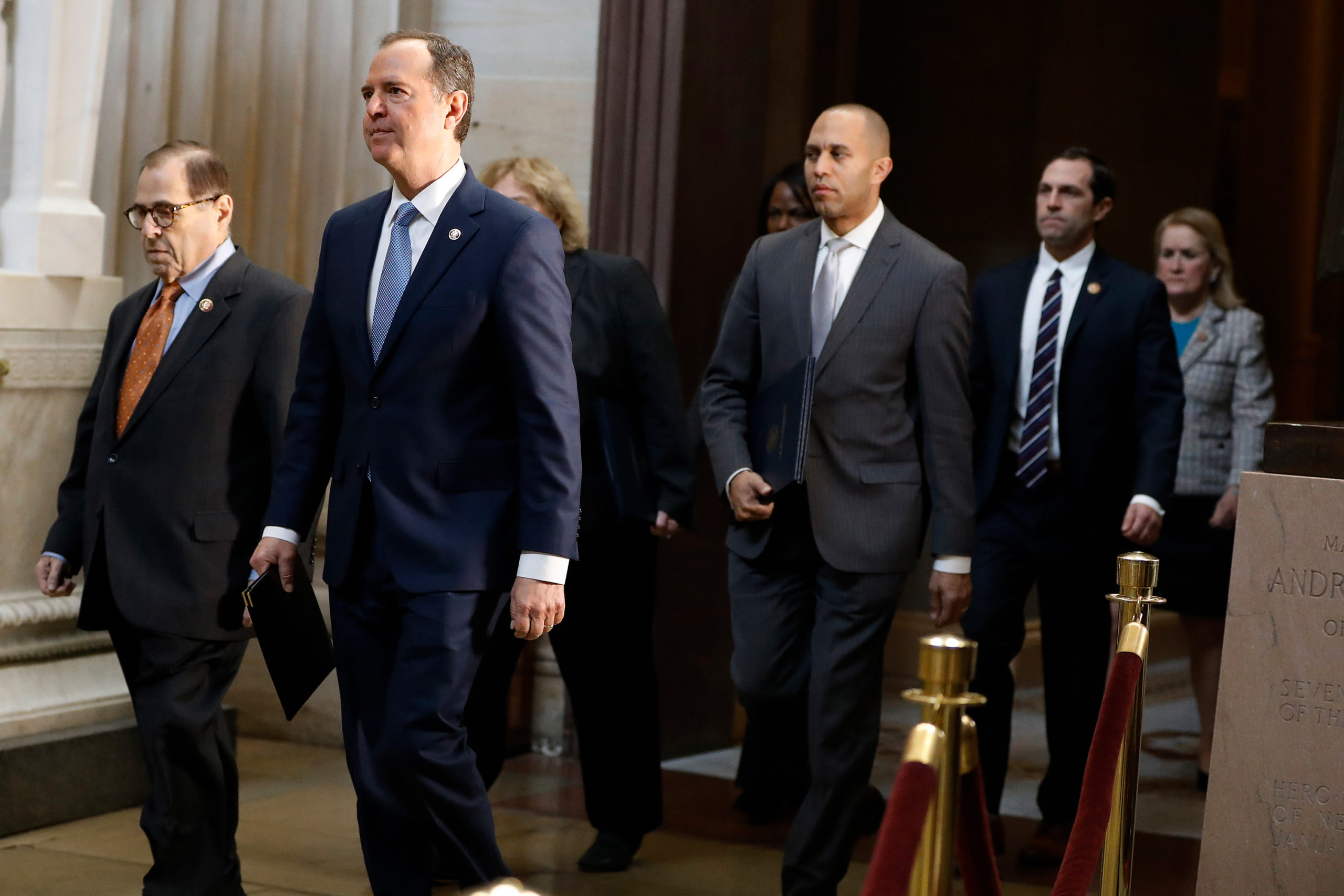 Impeachment managers, House Judiciary Committee Chairman, Rep. Jerrold Nadler, D-N.Y., left, and House Intelligence Committee Chairman Adam Schiff, D-Calif., second from left, walk with as Rep. Hakeem Jeffries, D-N.Y., Rep. Sylvia Garcia, D-Texas, Rep. Val Demings, D-Fla., Rep. Zoe Lofgren, D-Calif., and Rep. Jason Crow, D-Colo., from the Senate at the Capitol in Washington, Thursday, Jan. 16, 2020.