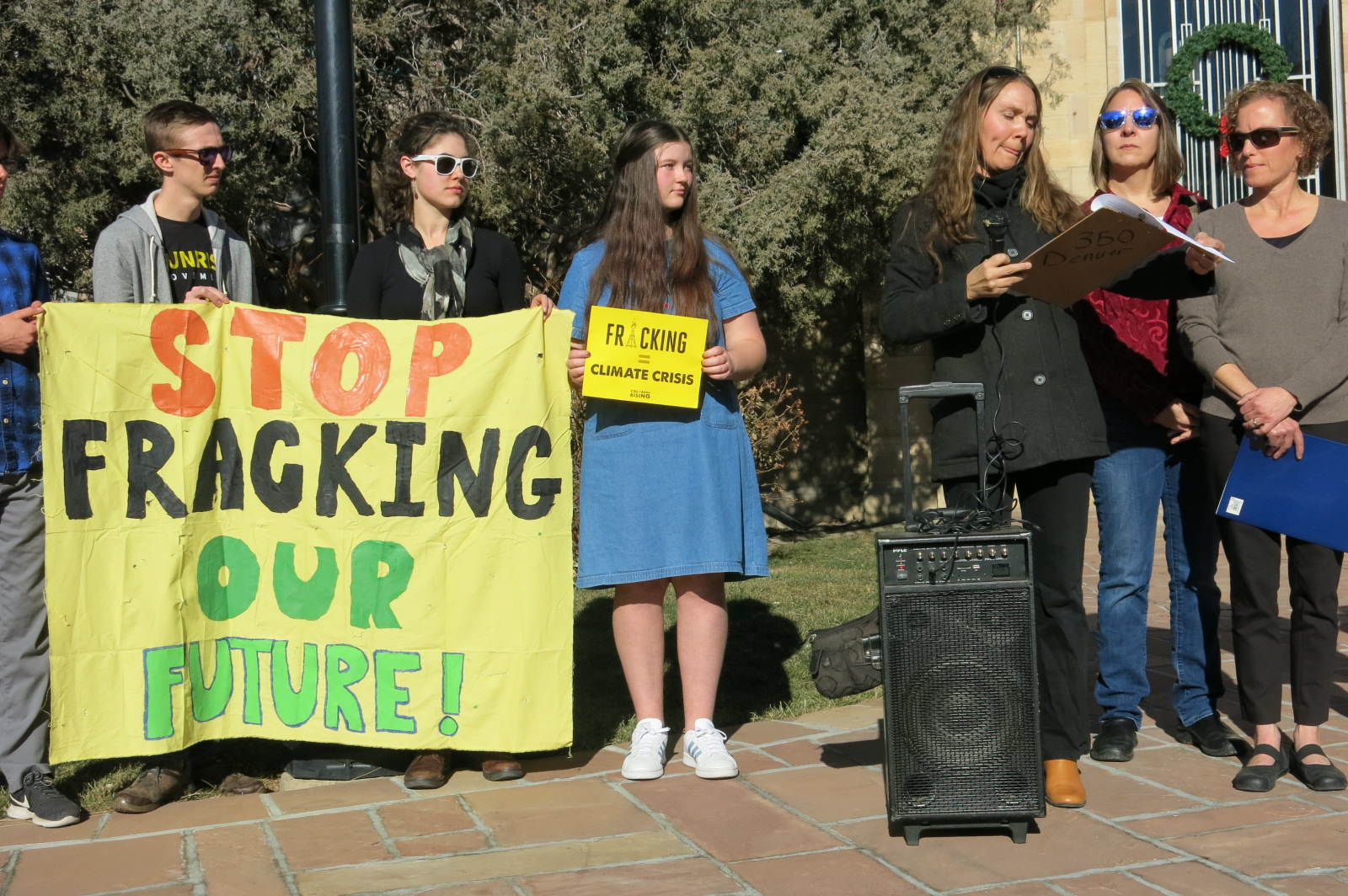 350 Colorado and the Lookout Alliance delivered 1,000 individual signatures in support of a fracking ban to Boulder County commissioners on Jan. 7, 2020.