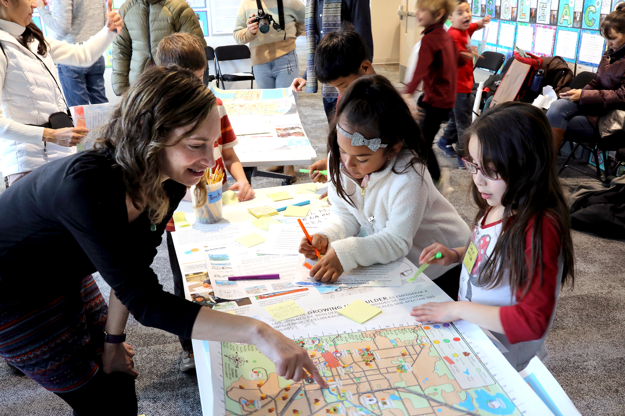 "Mara Mintzer of Growing Up Boulder works with children on one of the nation's first ""child-friendly city maps."""