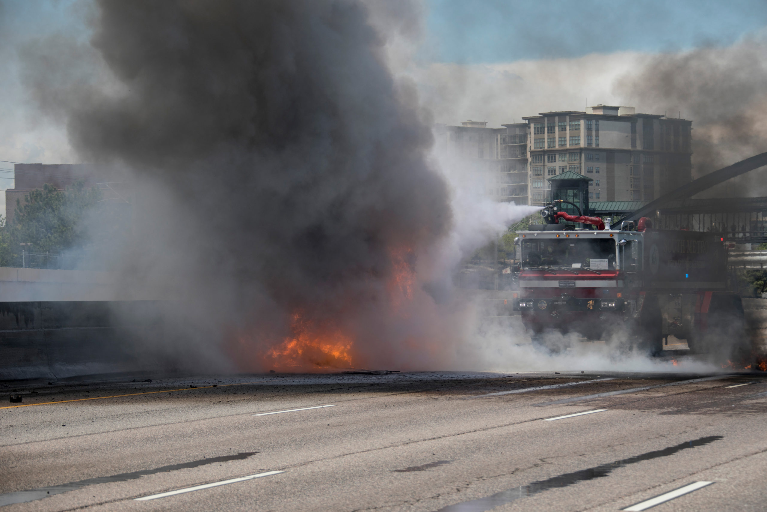 I-25 was closed in Greenwood Village for hours on May 31, 2017 after a fuel truck crashed and was engulfed in flames. South Metro Firefighters used aqueous film forming foam (AFFF), specially designed for flammable liquids, to fully extinguish the fire.