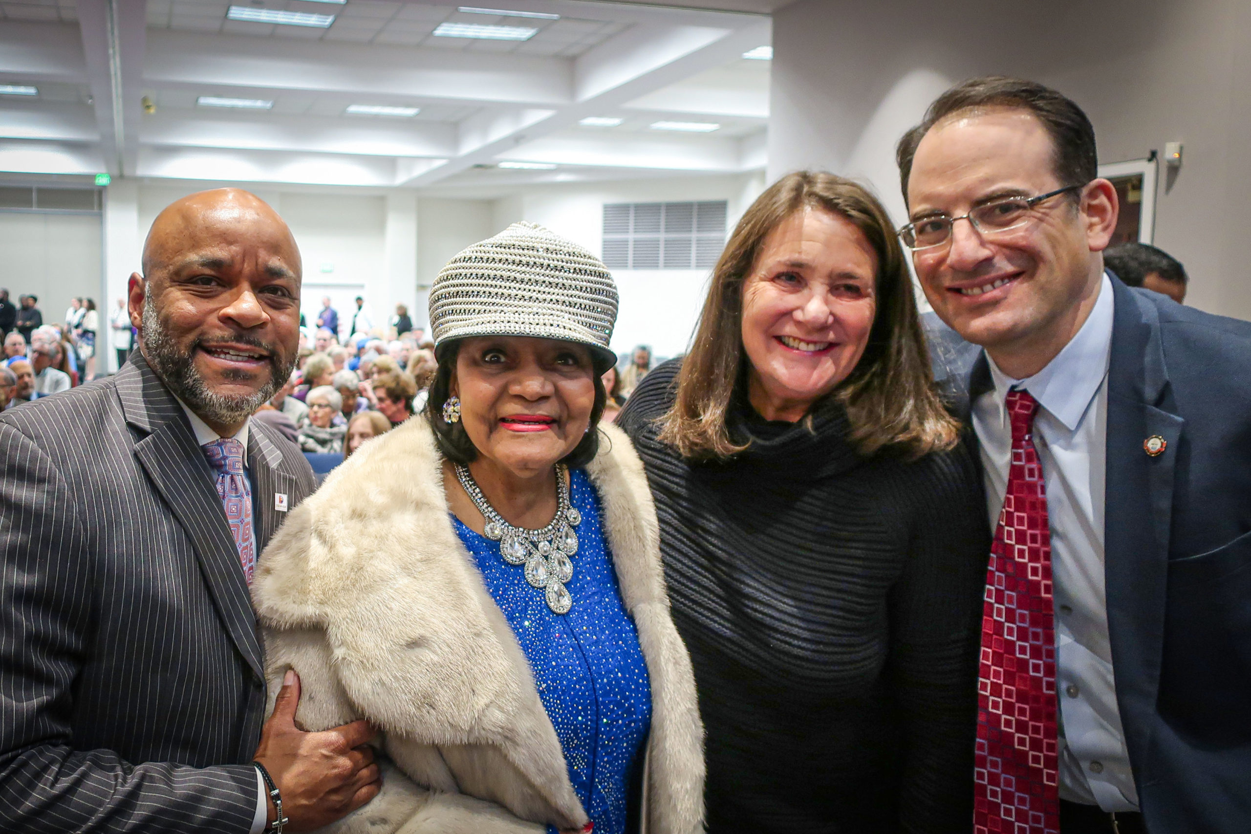 From left, Denver Mayor Michael Hancock, Syl Morgan-Smith, Congresswoman Diana DeGette and Colorado Attorney General Phil Weiser were among those in attendance at a celebration of Dr. Martin Luther King Jr. at Temple Sinai in Denver on January 19, 2020.