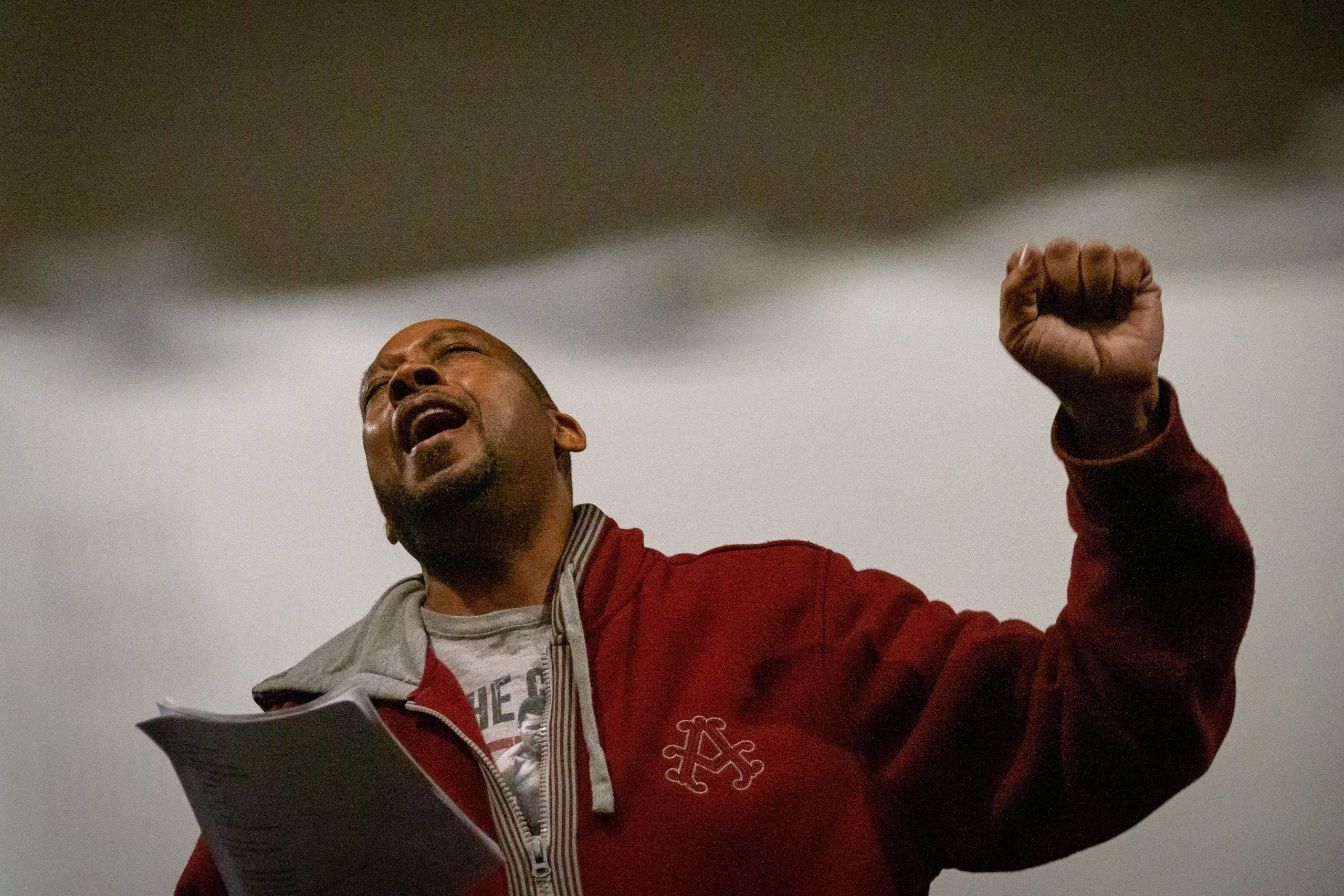 Vocalist Tony Howard belts a note during a rehearsal at Su Teatro Cultural and Performing Arts Center on Feb. 3, 2020.