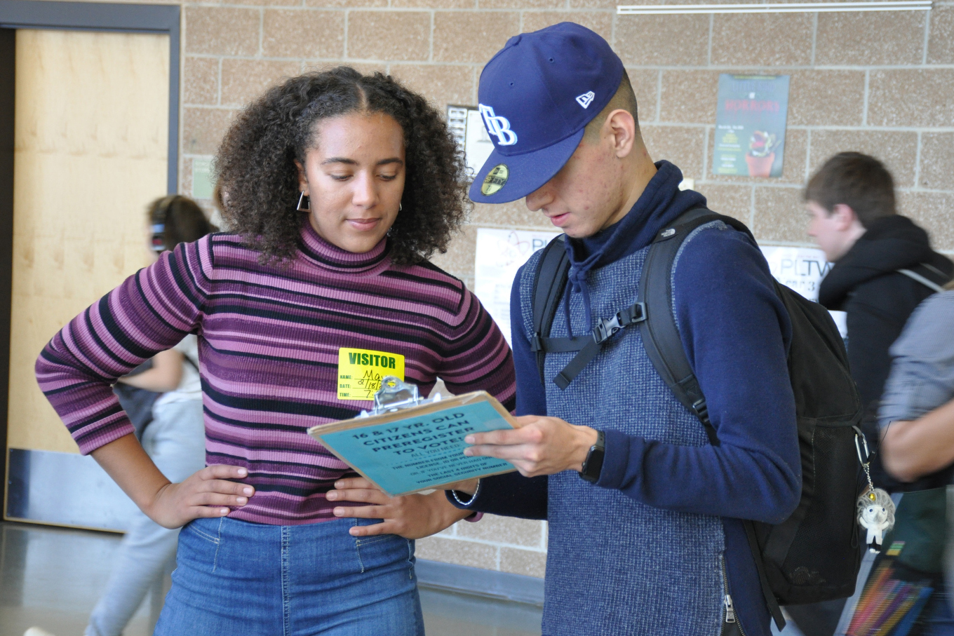 Organizers from the Colorado Democracy Challenge visited Bear Creek High School in Lakewood to sign up young people to vote.