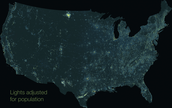 Cartographer Tim Wallace created maps that merges nighttime light imagery and population data.